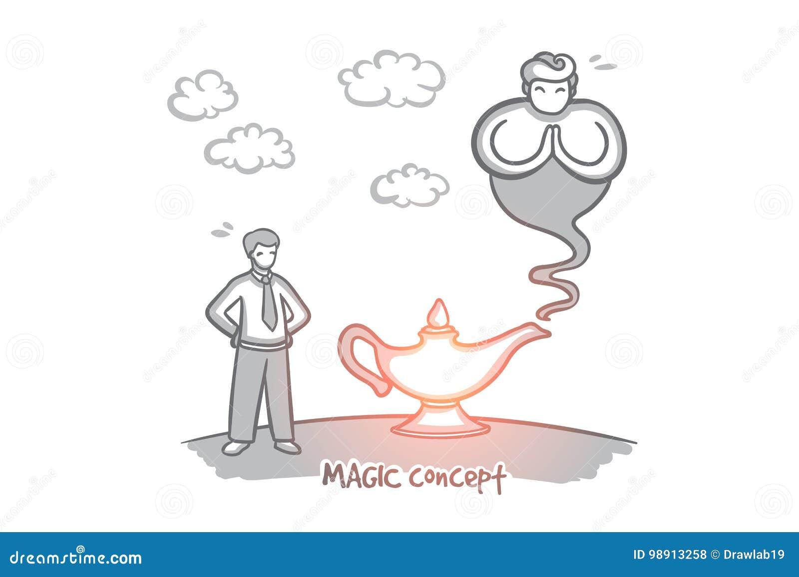 Concept magique Vecteur d isolement tiré par la main