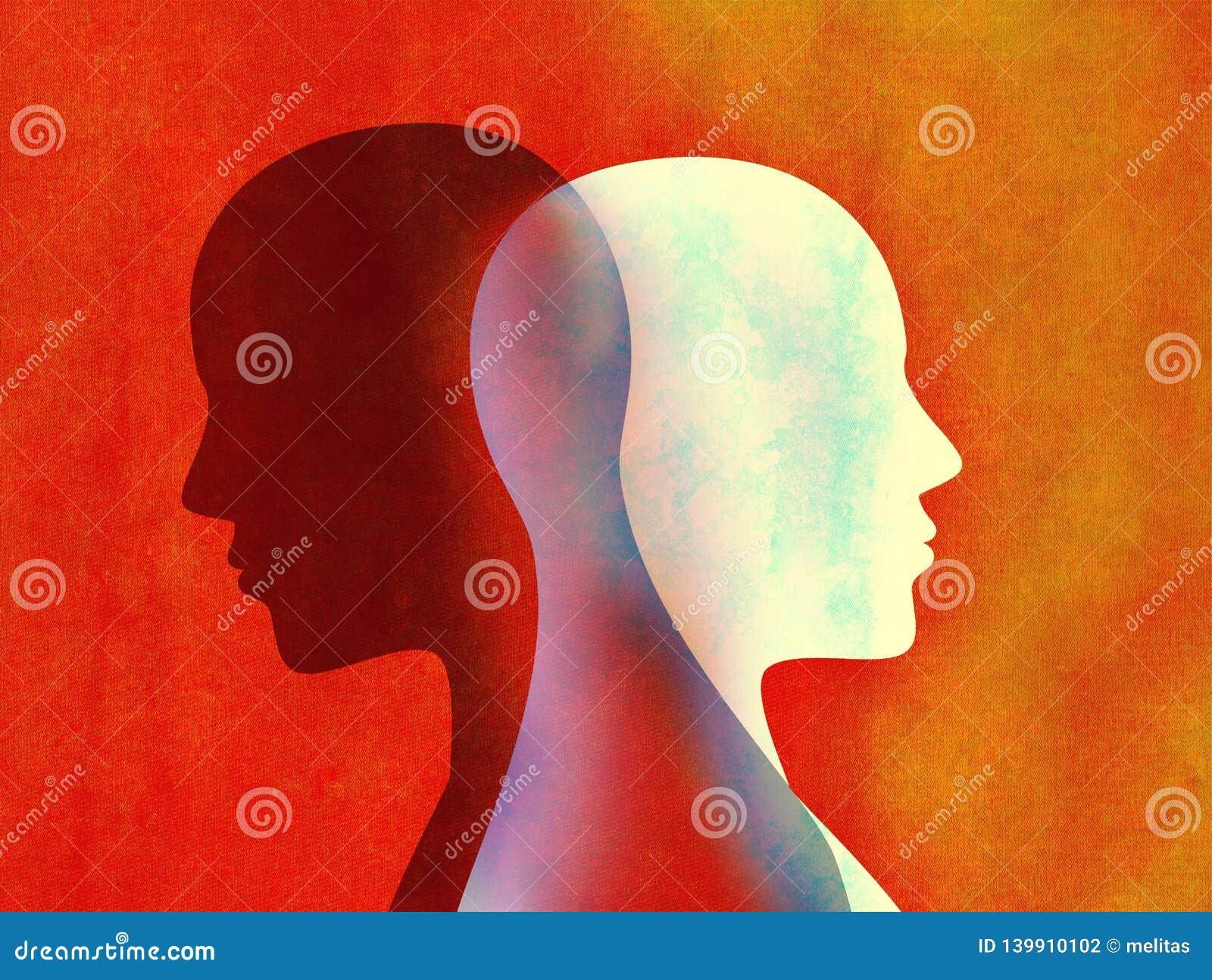 Concept mental d esprit de trouble bipolaire Changement d humeur émotions Double personnalité Personnalité duelle Silhouette prin