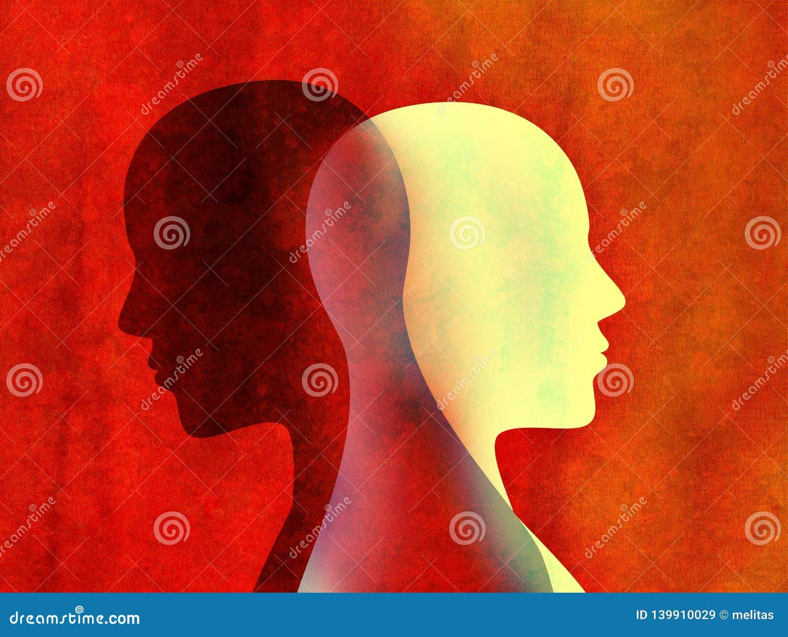 Concept mental d esprit de trouble bipolaire Changement d humeur émotions Personnalité duelle Double personnalité Silhouette prin