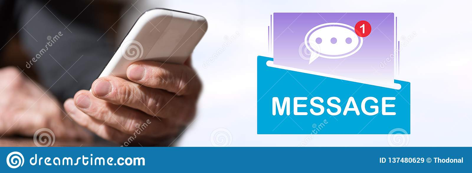 Concept of message. Hand holding mobil phone with message concept on background royalty free stock images