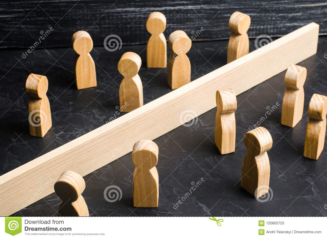 The concept of misunderstanding a barrier in relations denial of society. Barriers between people prejudice. social classes