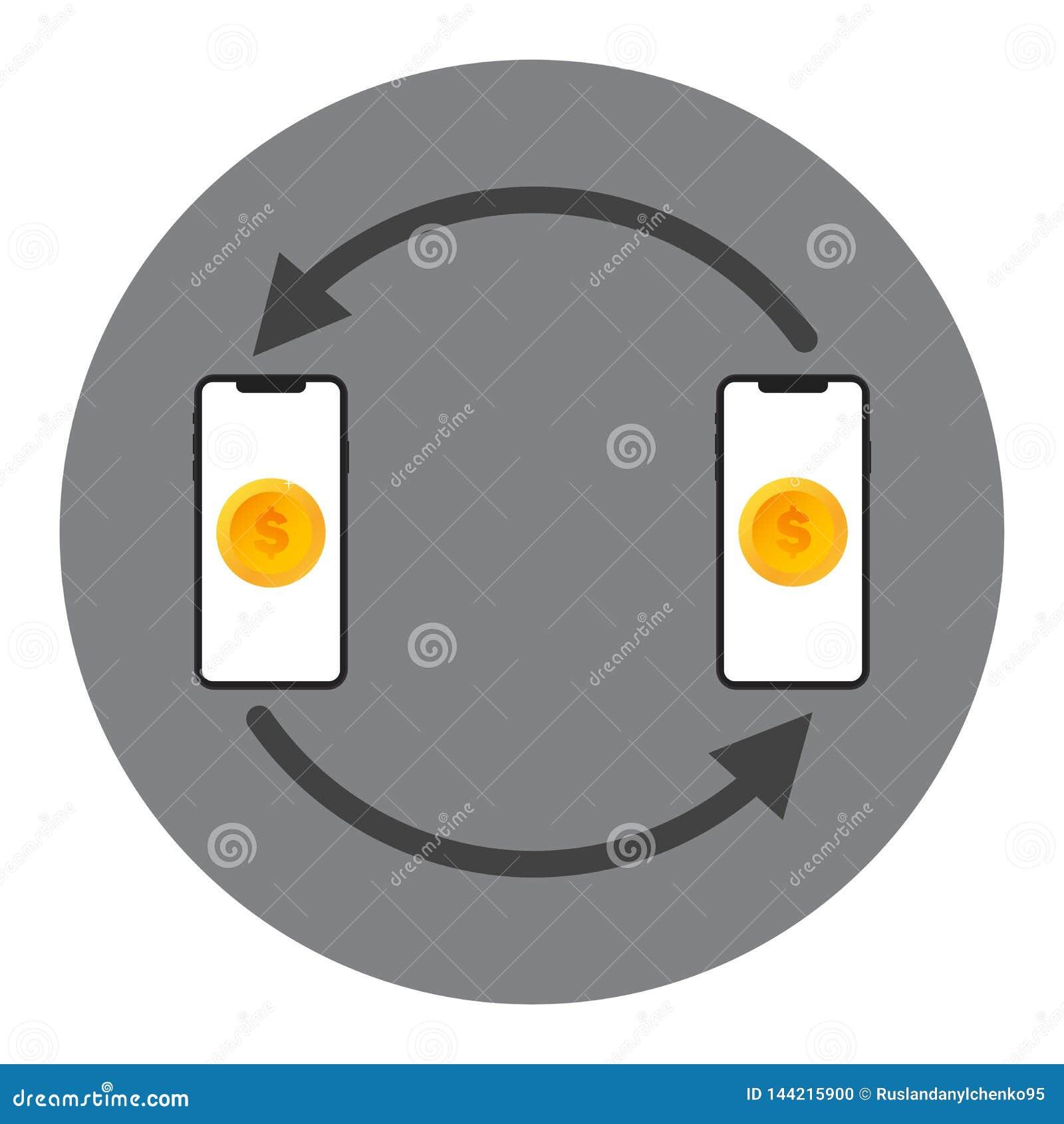 Concept mobile de vecteur de transfert d argent L argent d ?change de deux dispositifs les uns avec les autres Concept de transfe