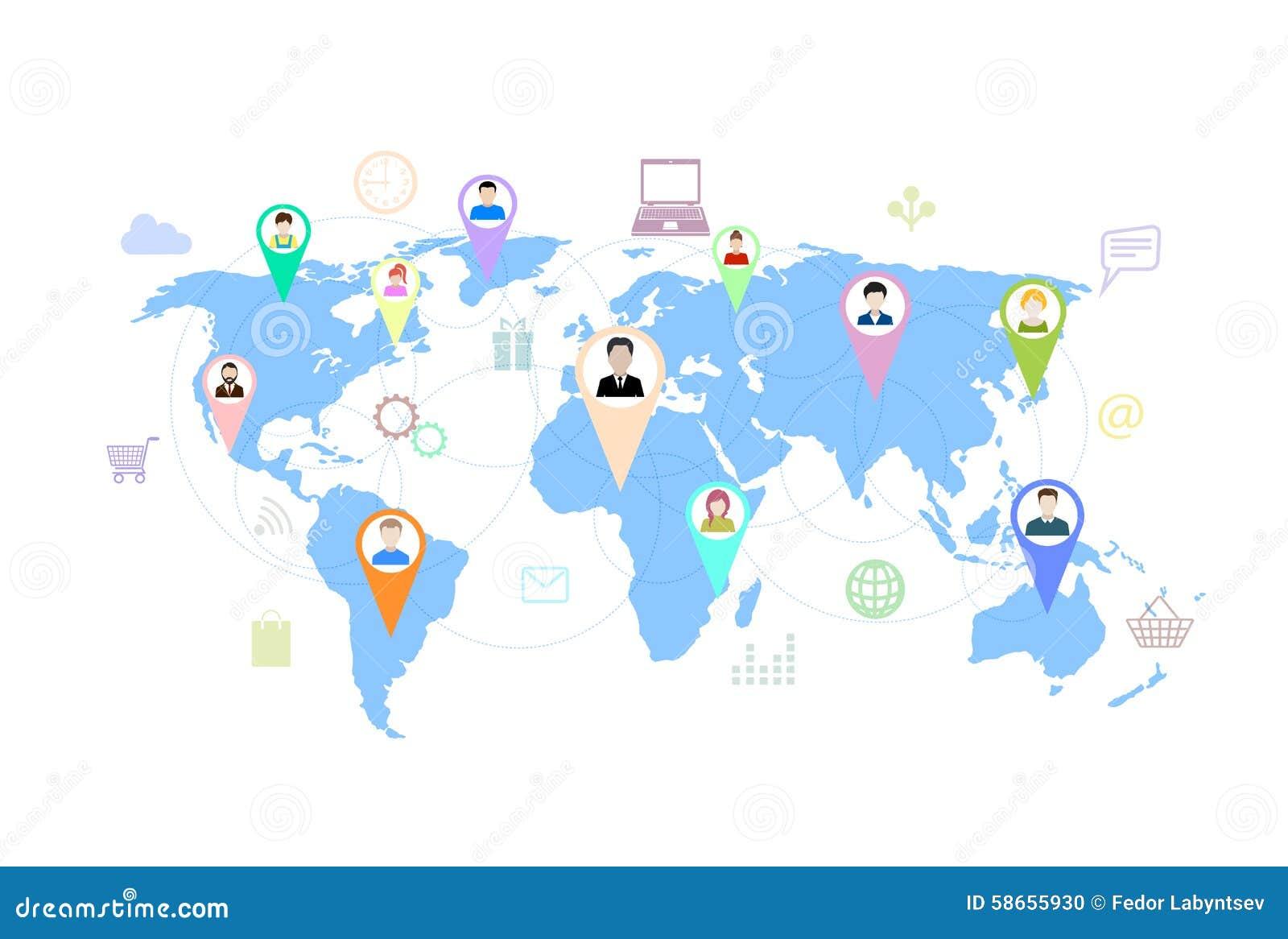 Concept modern zaken en groepswerk online sociale netwerken,