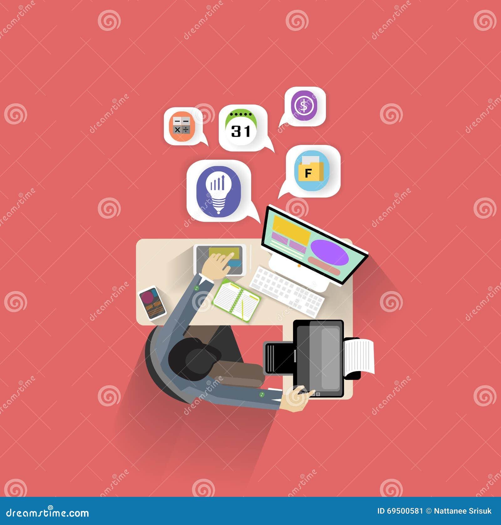 Concept moderne d illustration de vecteur de conception plate d espace de travail créatif de bureau d homme d affaires, vue supér