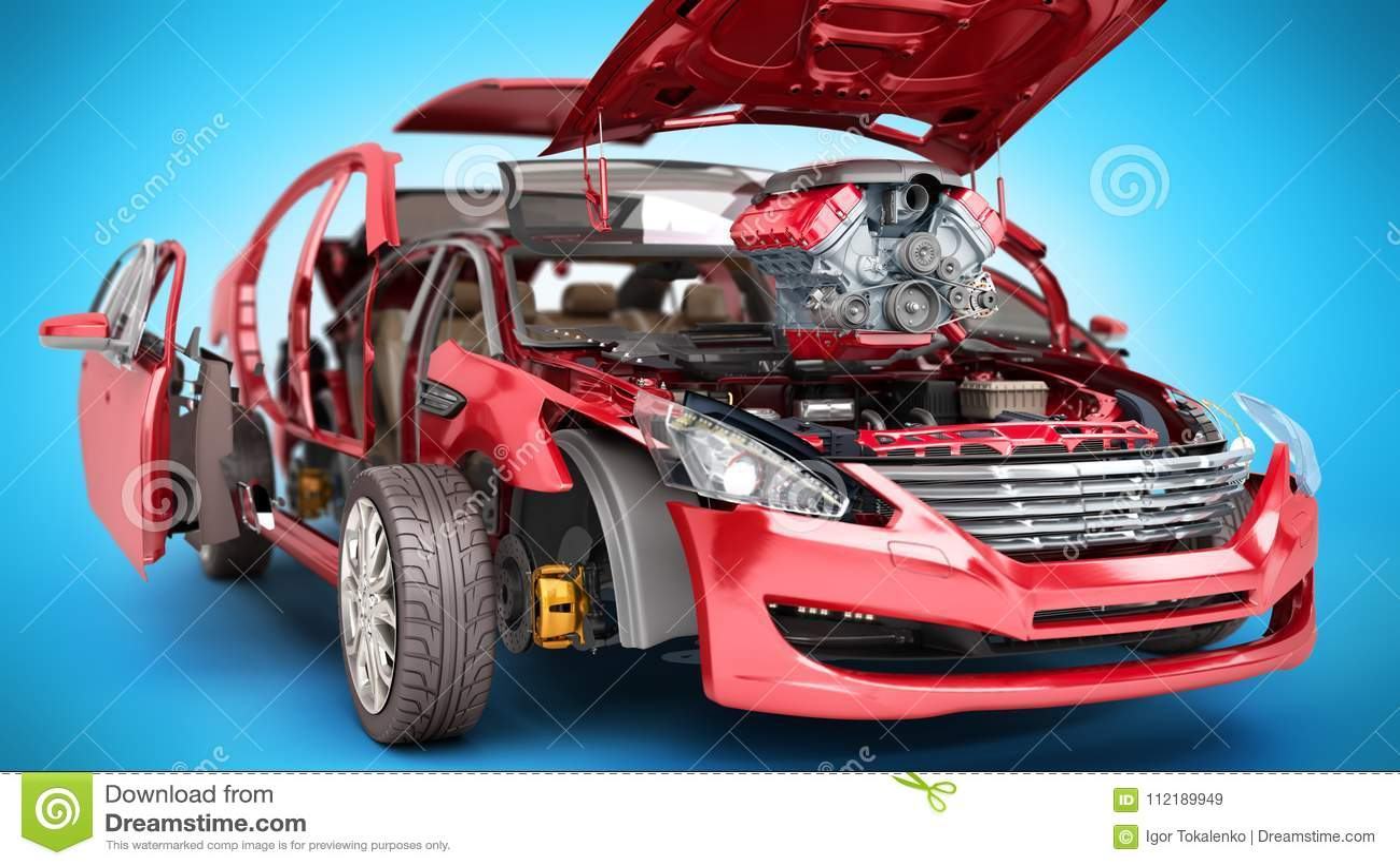 Concept moderne des détails de travail de réparation automatique de la voiture rouge sur un b
