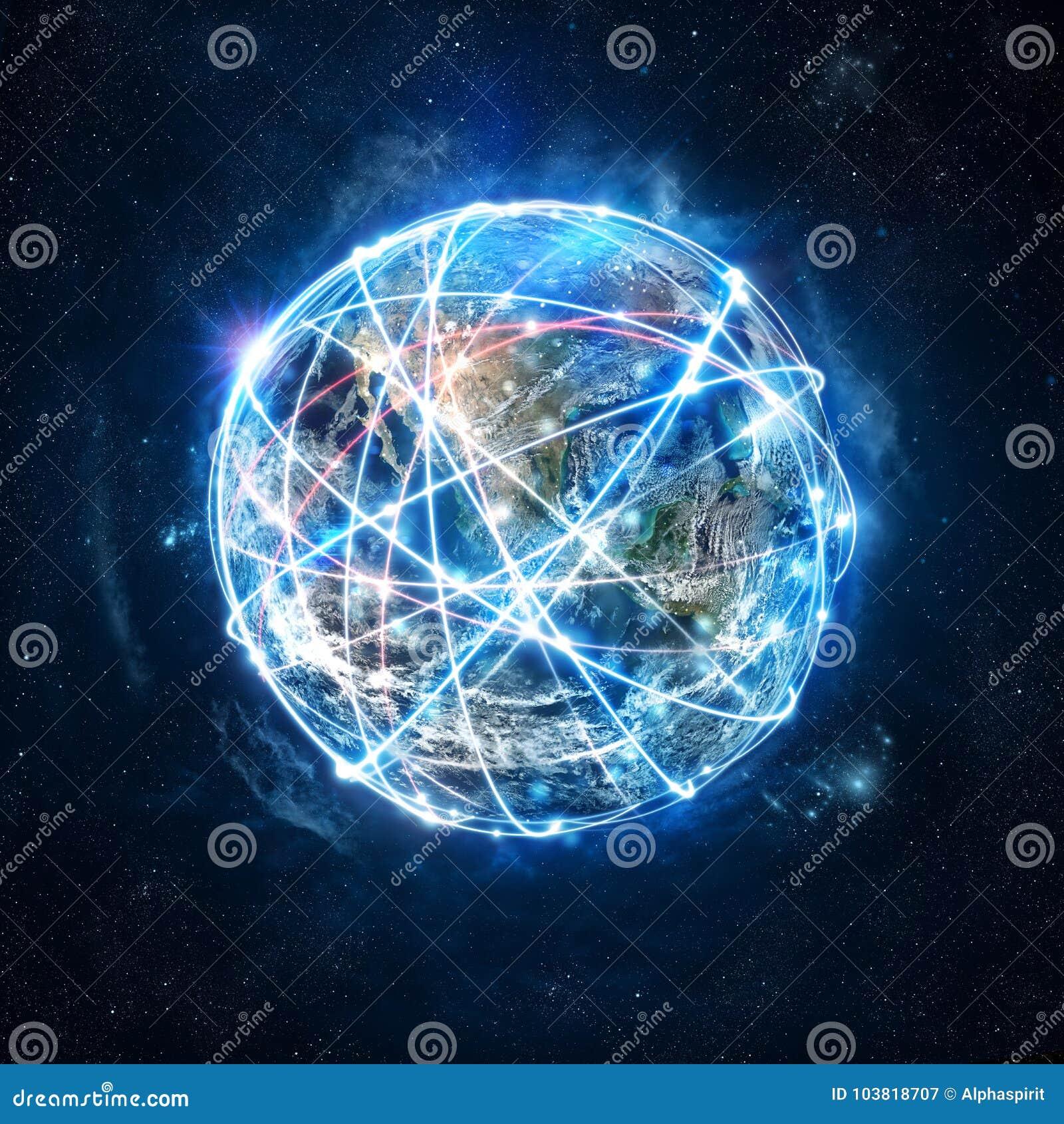 Concept mondiaal Internet-verbindingsnet wereld door NASA wordt verstrekt die