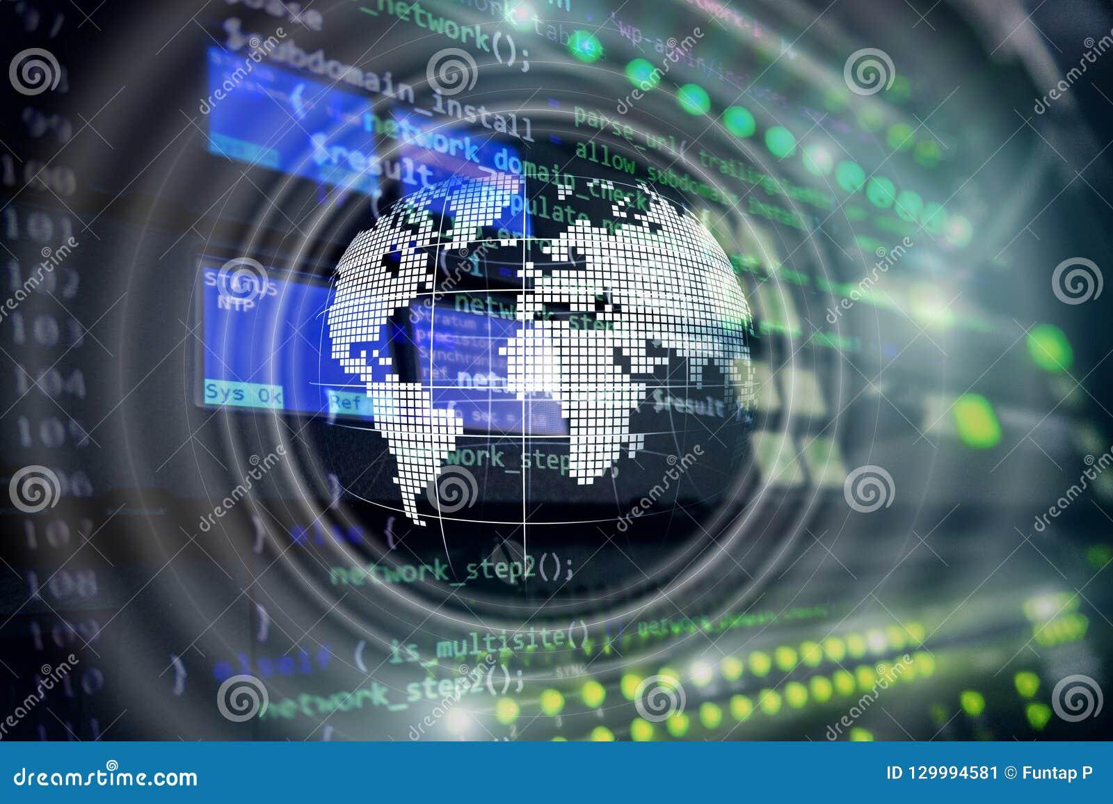 Concept mondial d affaires de télécommunication mondiale de globe d hologramme de la terre de planète