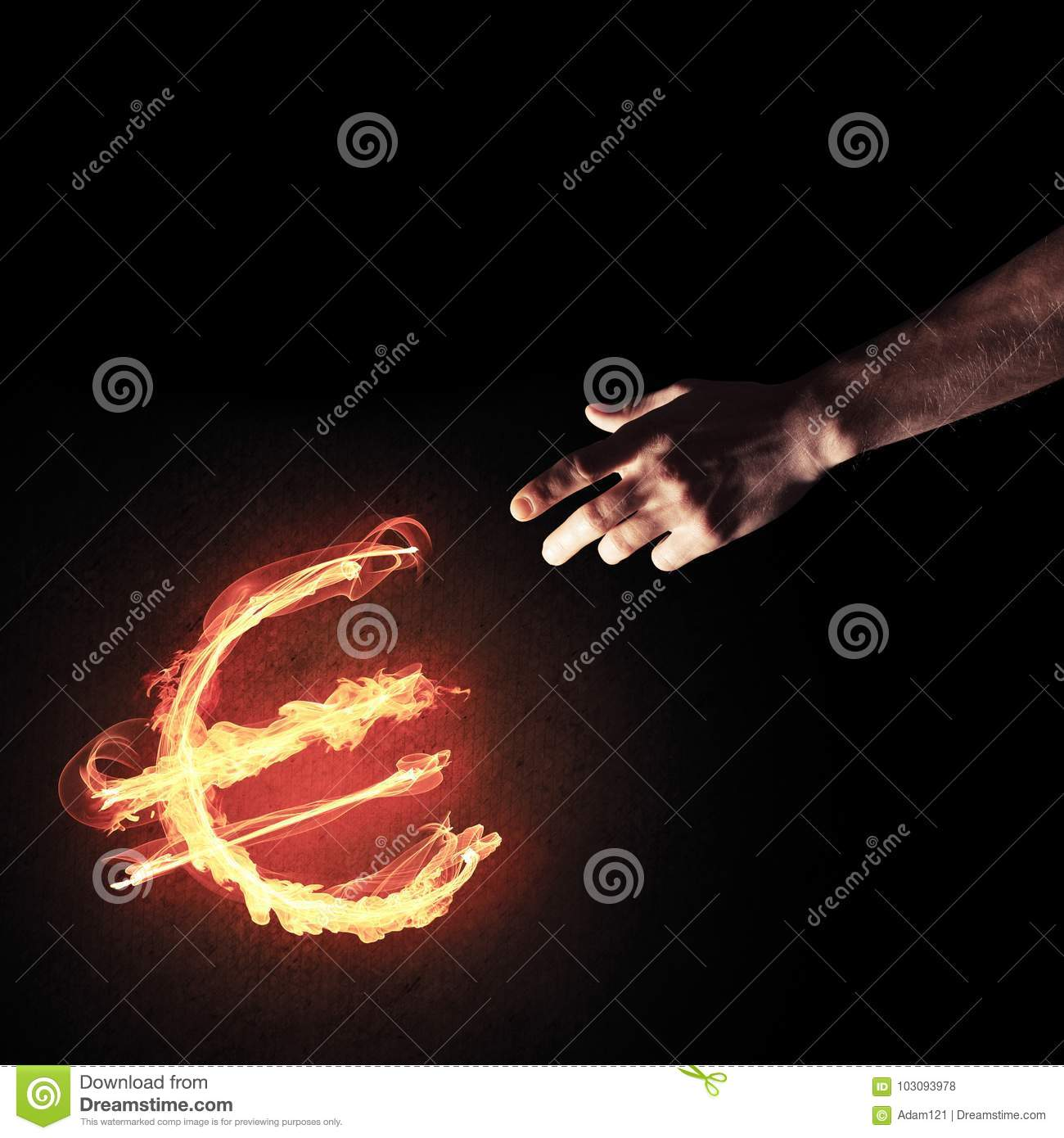 Concept of money making with euro currency fire symbol on dark b royalty free stock photo buycottarizona Choice Image