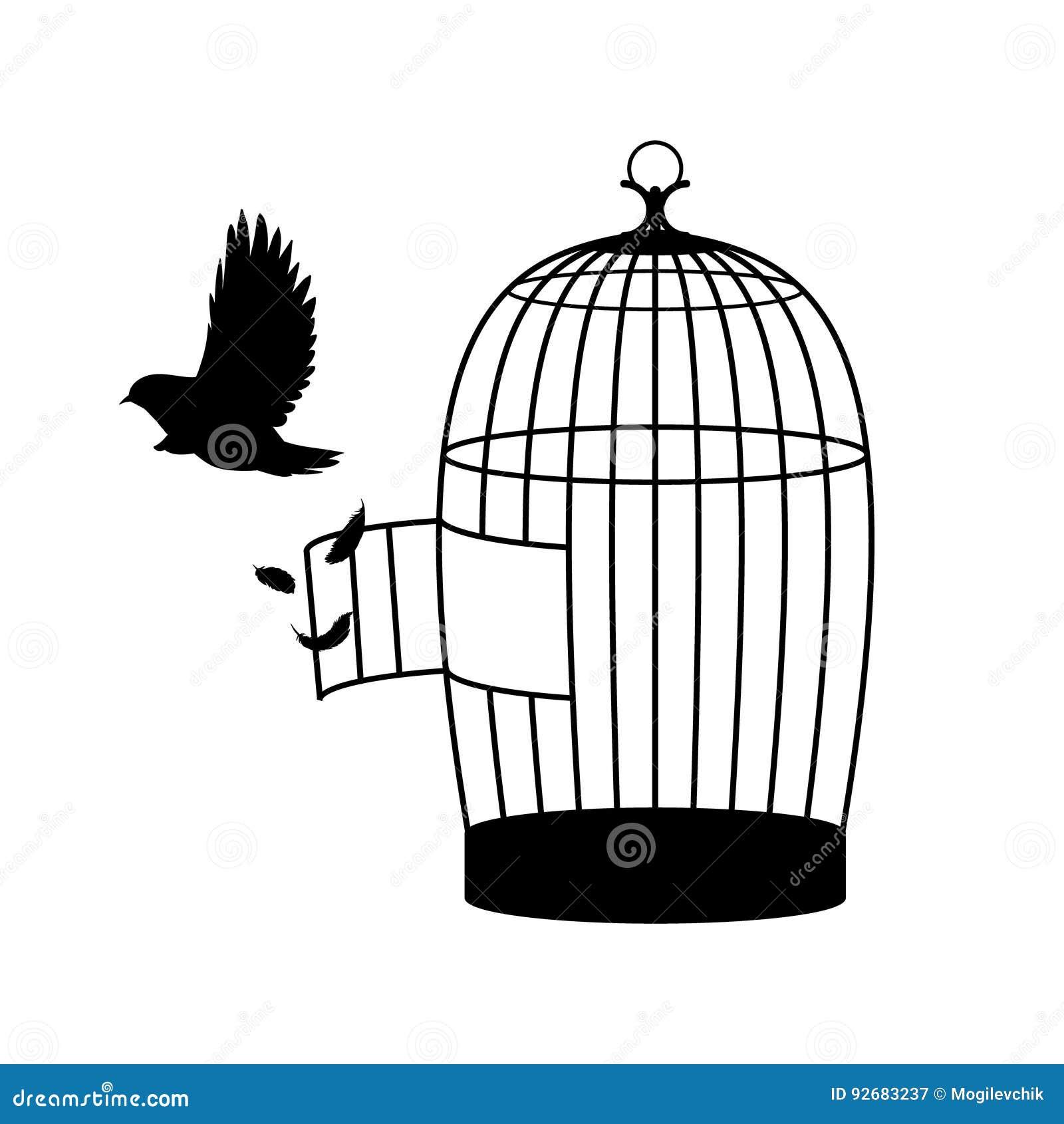 Concept monochrome de silhouette d 39 oiseau illustration de vecteur illustration du l ment - Dessin oiseau en cage ...