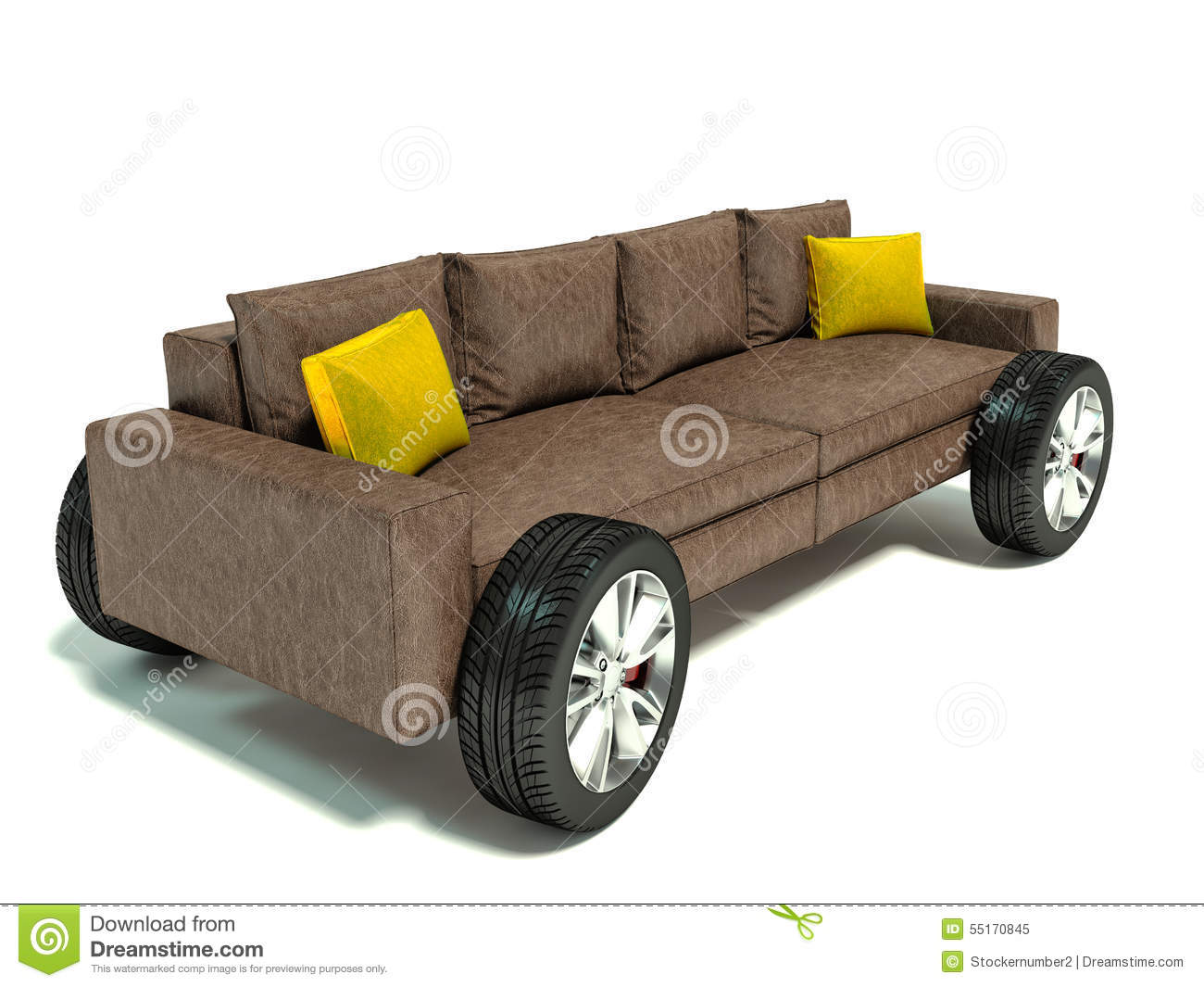 Charmant The Concept Of Moving To A New Home. Sofa On Wheels