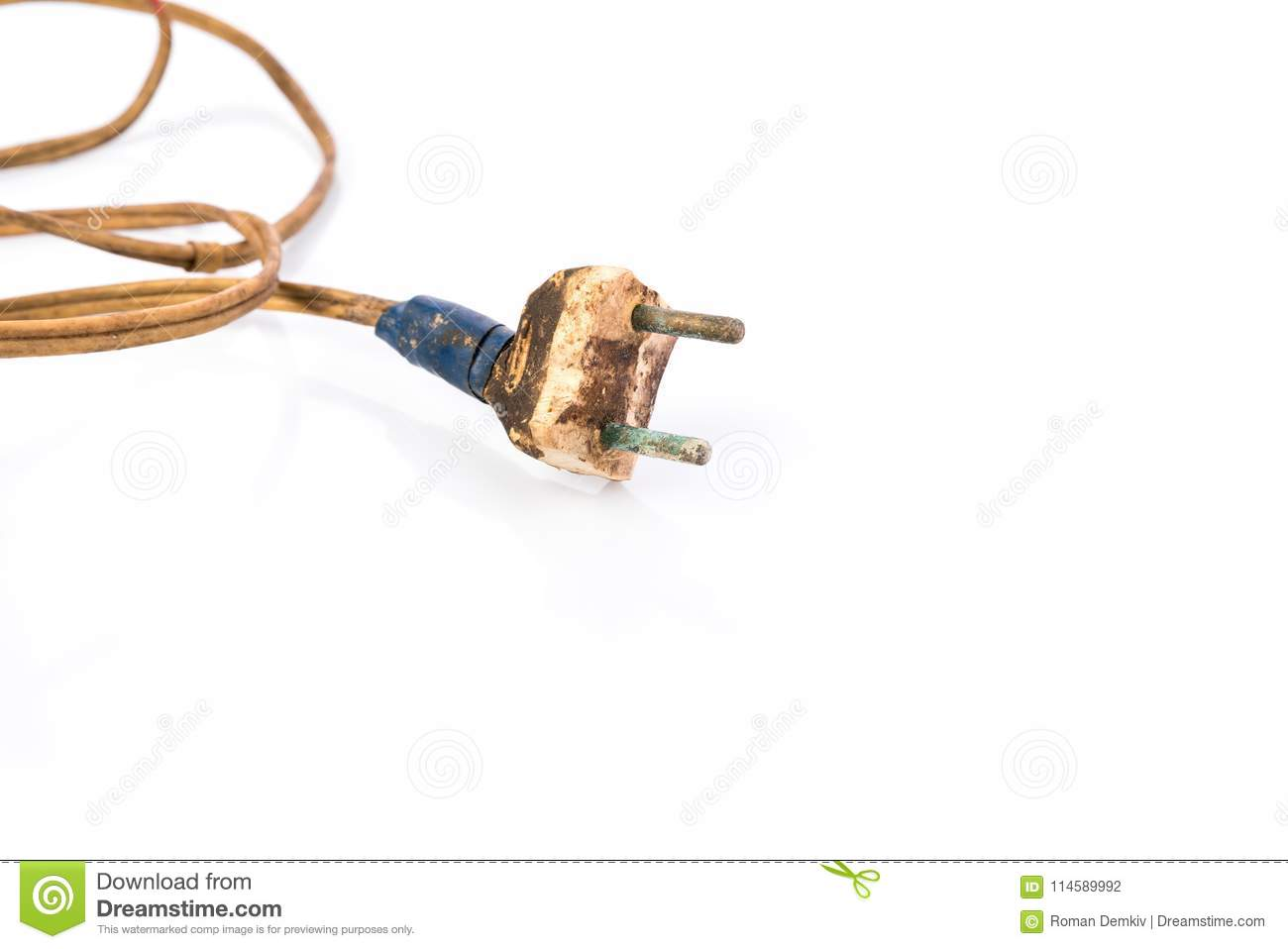 Concept Neglect Of Fire Safety Damaged Power Plug Wrapped With Wiring A Download Insulation Tape