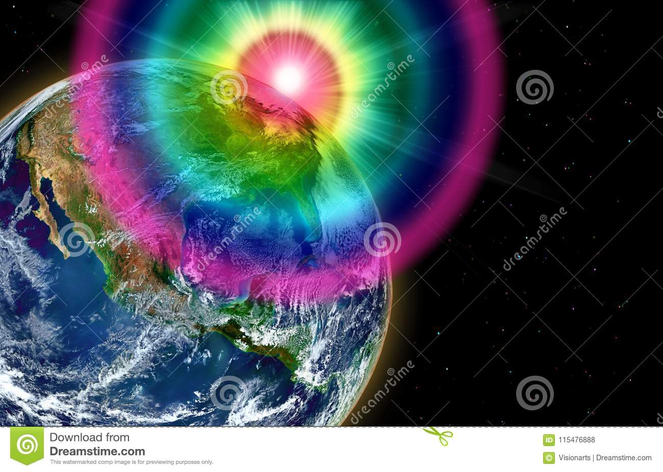 Earth From Space With Rainbow Waves Stock Illustration
