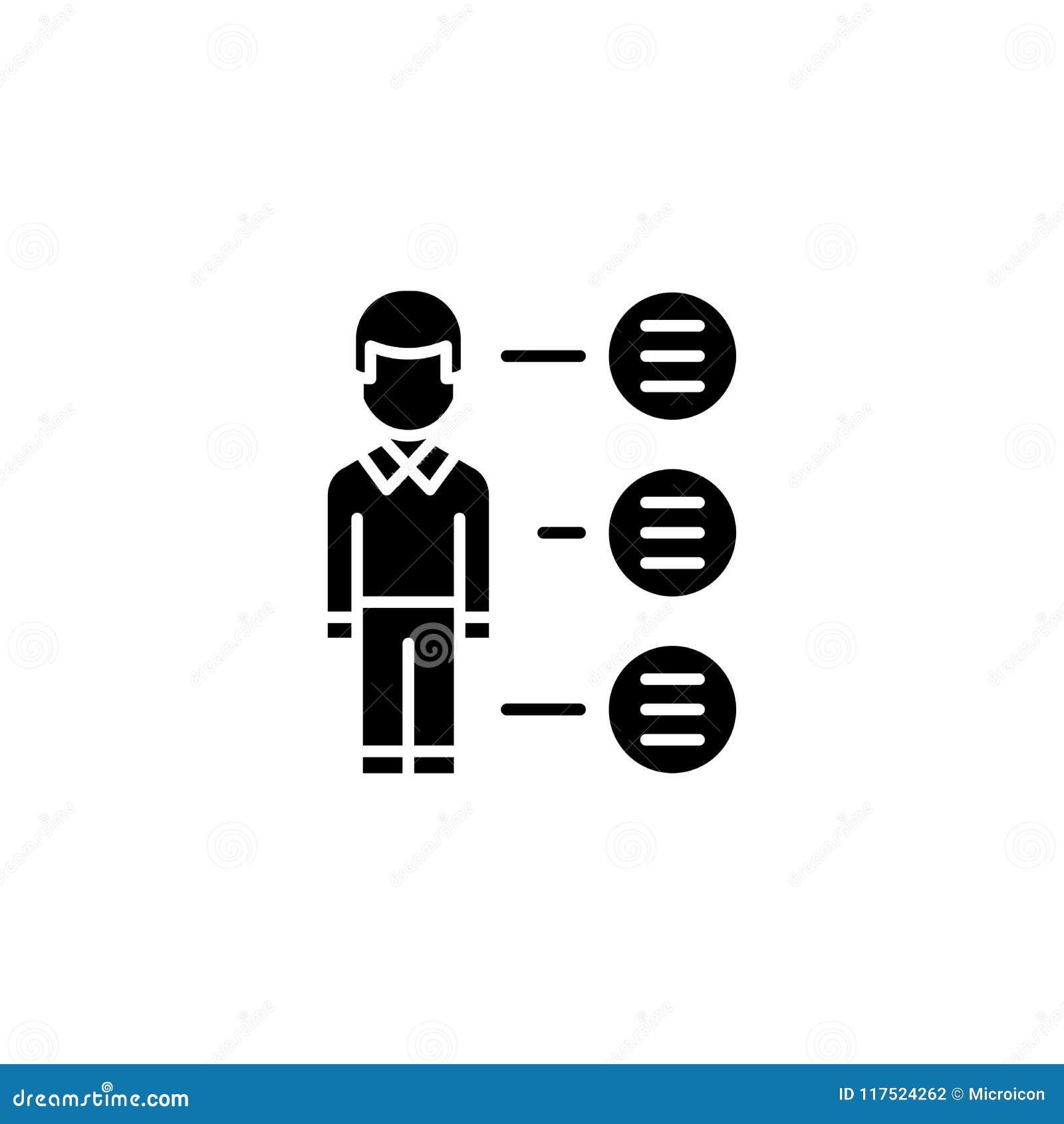 Concept noir d icône de gros points noirs Symbole plat de vecteur de gros points noirs, signe, illustration