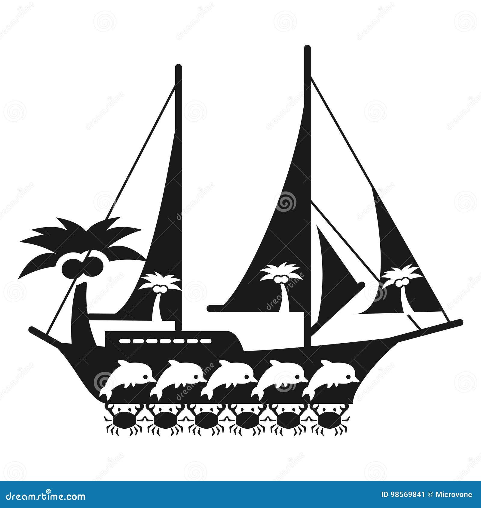 Concept Noir Et Blanc De Voyage En Mer Avec Le Bateau Illustration
