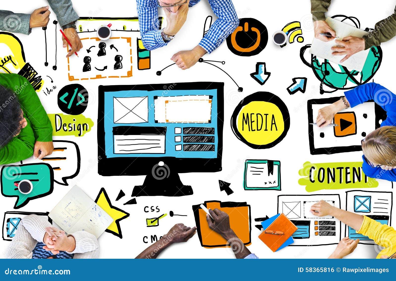 Concept occasionnel de séance de réflexion de réunion de web design de personnes de diversité