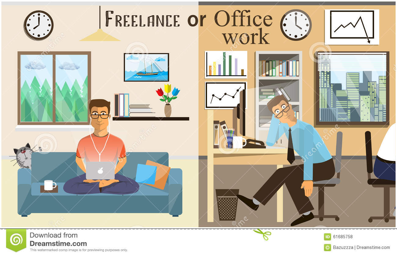 The concept of office work and the freelancing scenes of for Living office concept