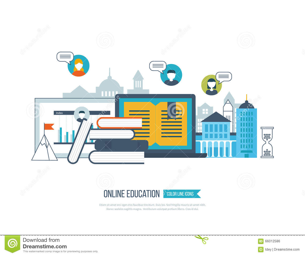 Concept of online education training courses university tutorials stock vector - Build house plans online free concept ...