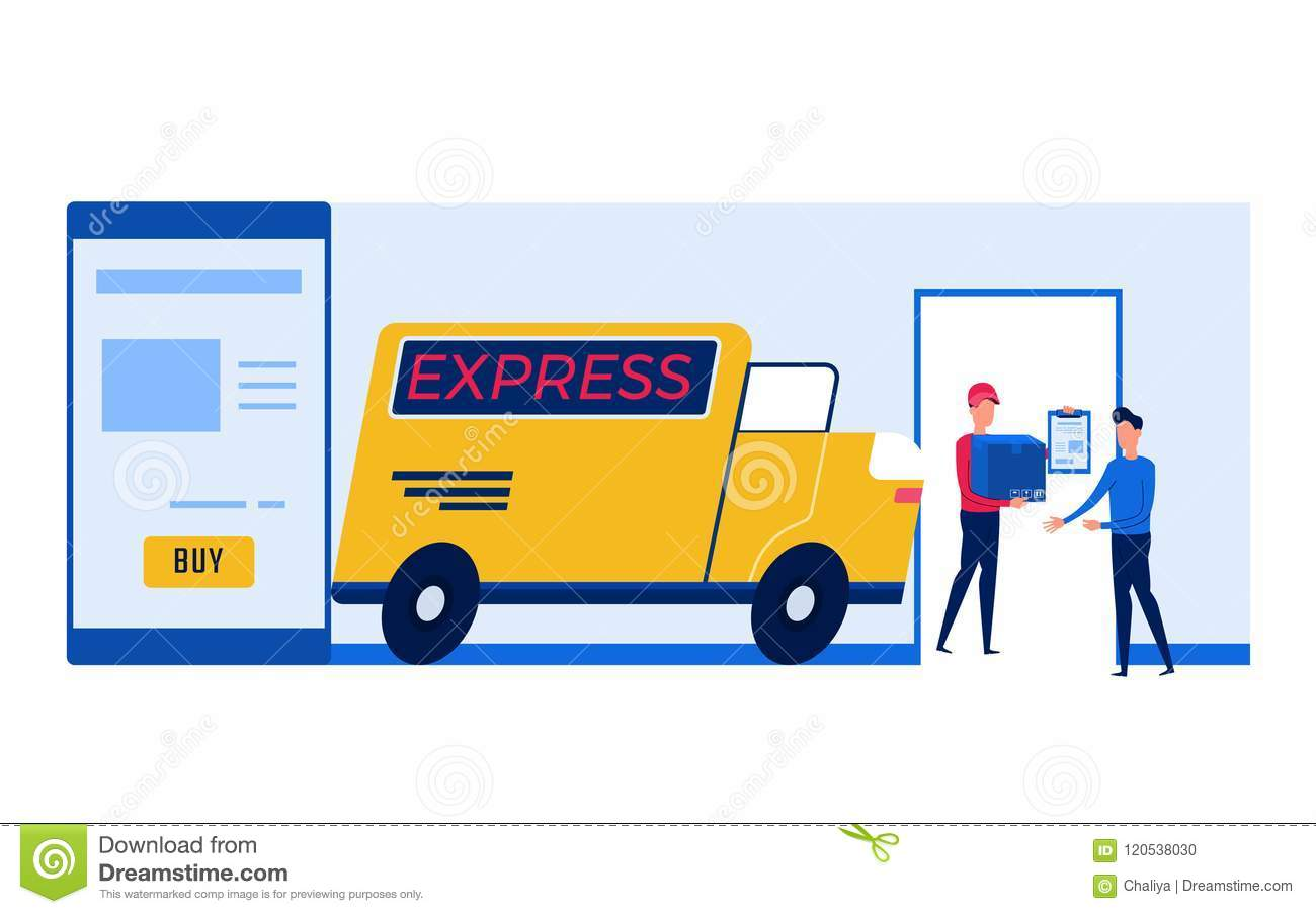 Concept Of Online Shopping And Delivery Services Stock