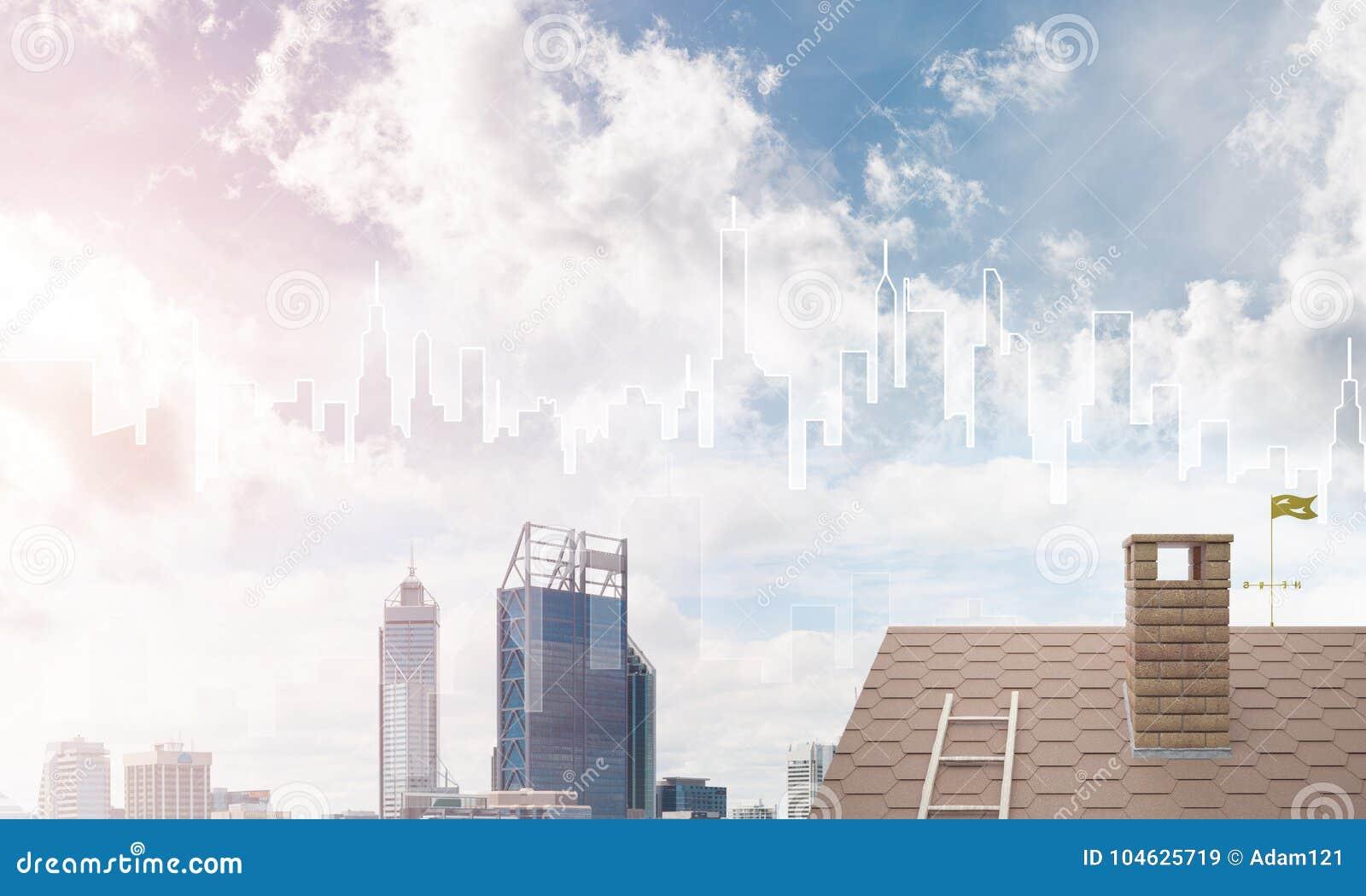 Download Concept Onroerende Goederen En Bouw Met Getrokken Silhouet Op Grote Stadsachtergrond Stock Afbeelding - Afbeelding bestaande uit architectuur, huis: 104625719