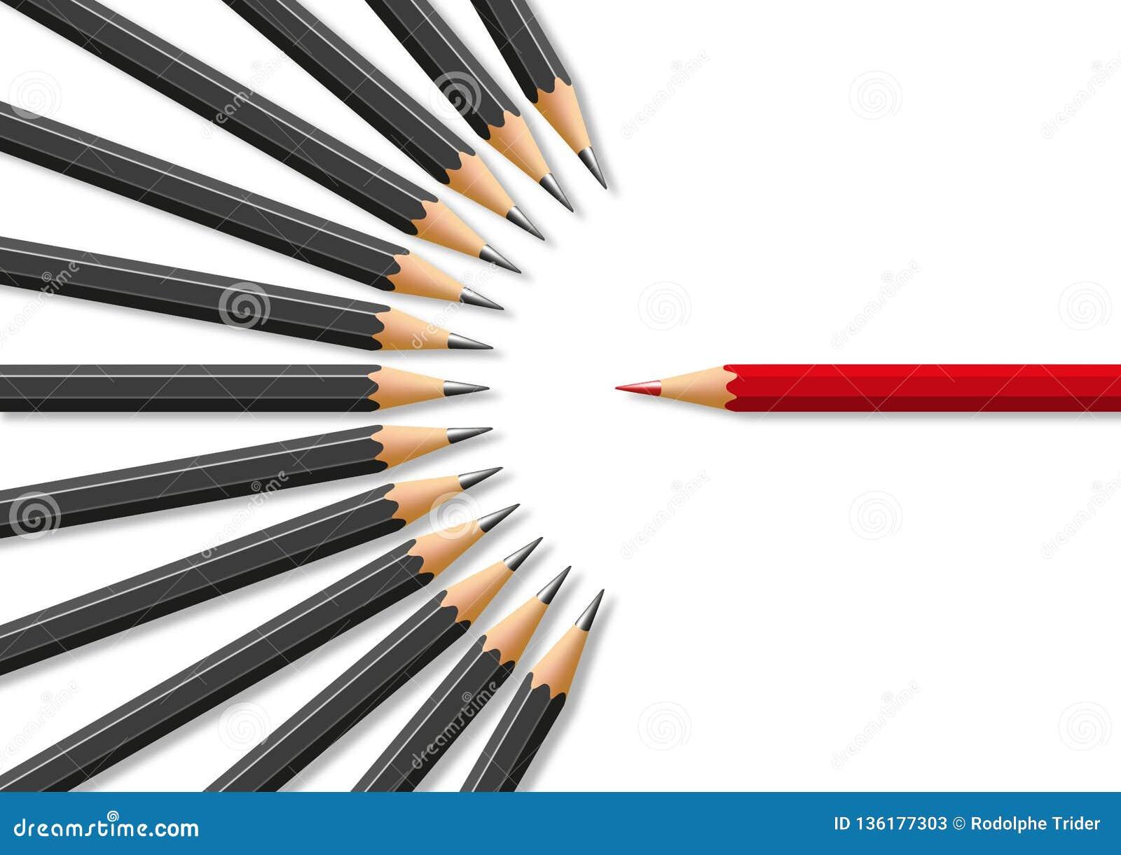 Concept onverdraagzaamheid in aanwezigheid van verschil van advies met voor symbool van potloden