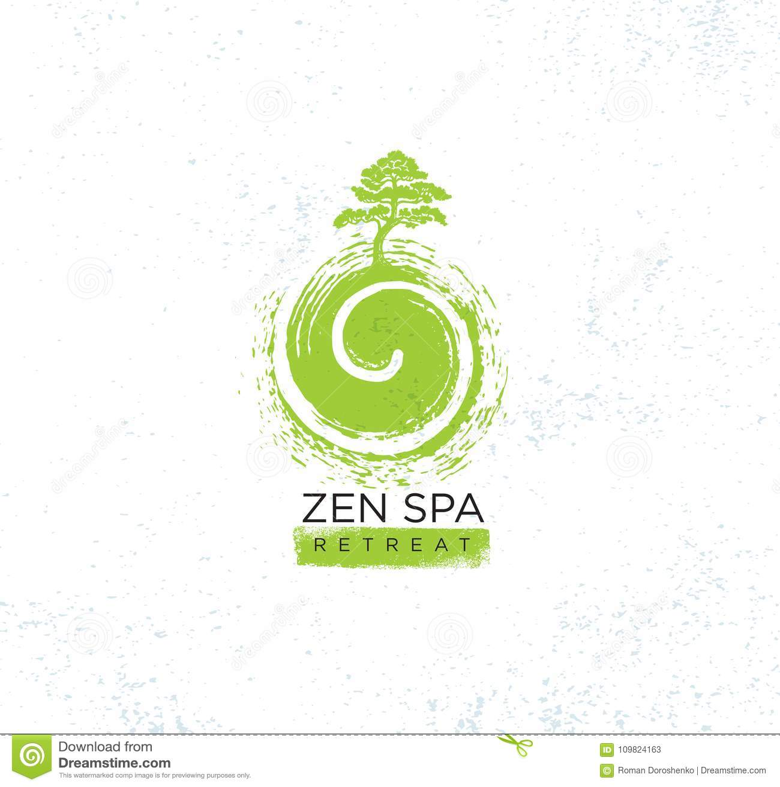 Concept organique de signe de Zen Spa Wellness Holistic Retreat Arbre sur l illustration de remous sur le fond texturisé approxim