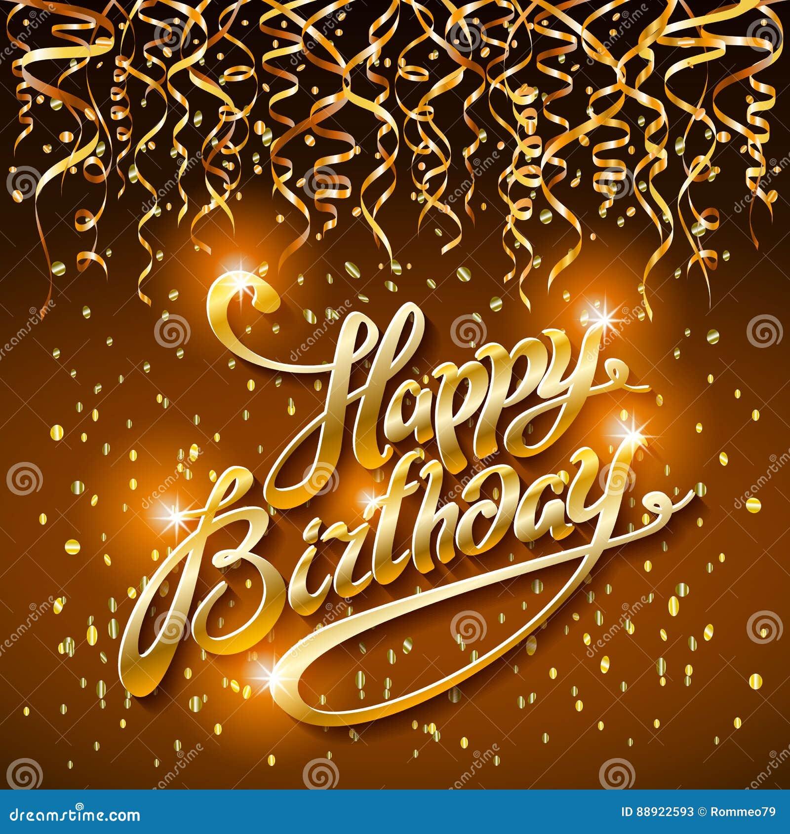 happy birthday gold Concept Party On Dark Background Top View Happy Birthday Gold  happy birthday gold