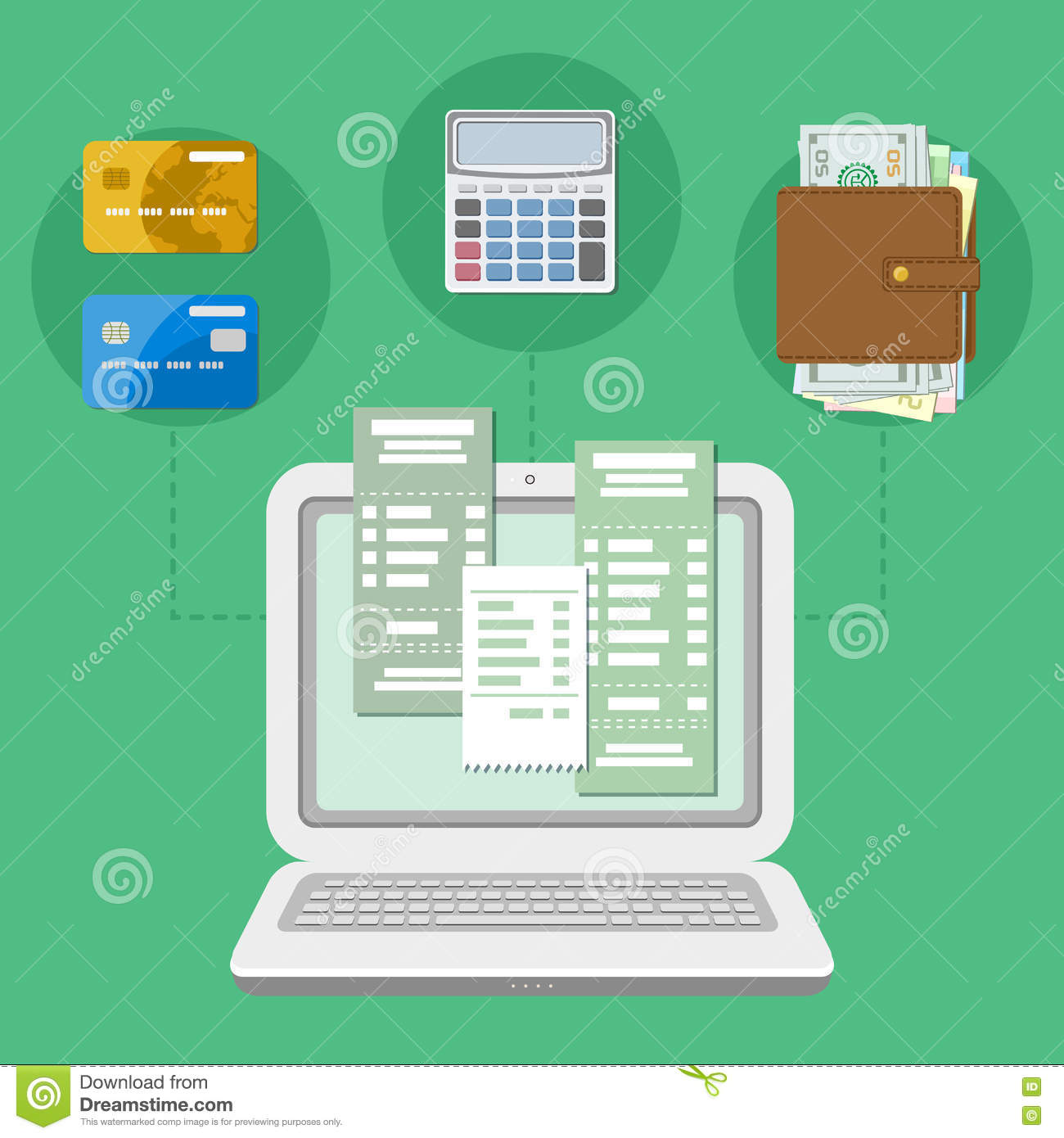 The Concept Of Payment Accounts Tax Bill Via A Computer Or A Laptop ...