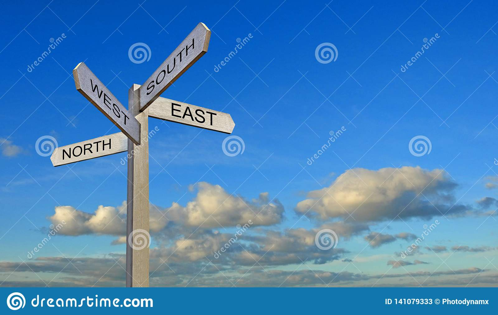 Blue sky clouds sign post arrows direction north south east west