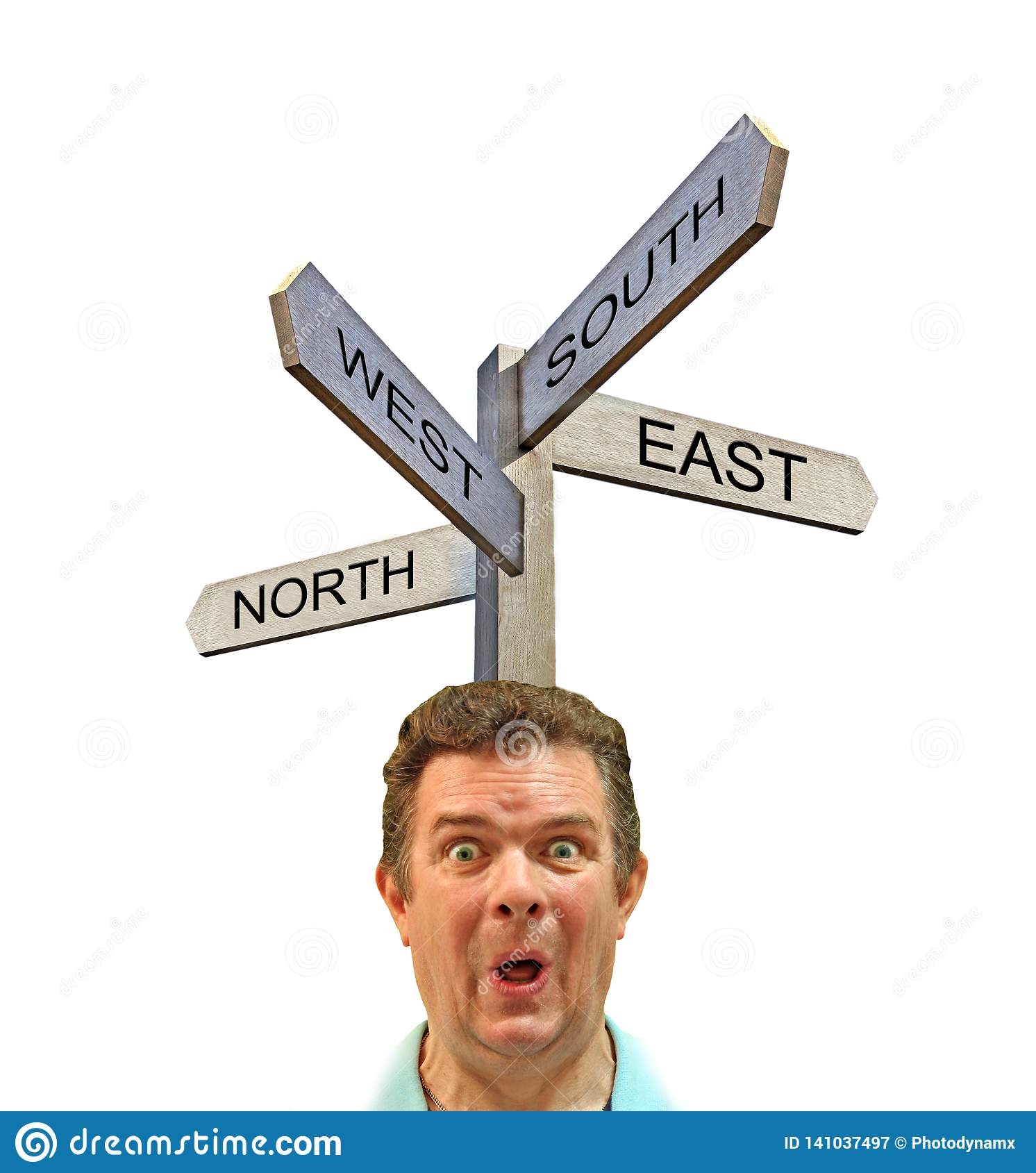 Confused man sign post arrows direction north south east west