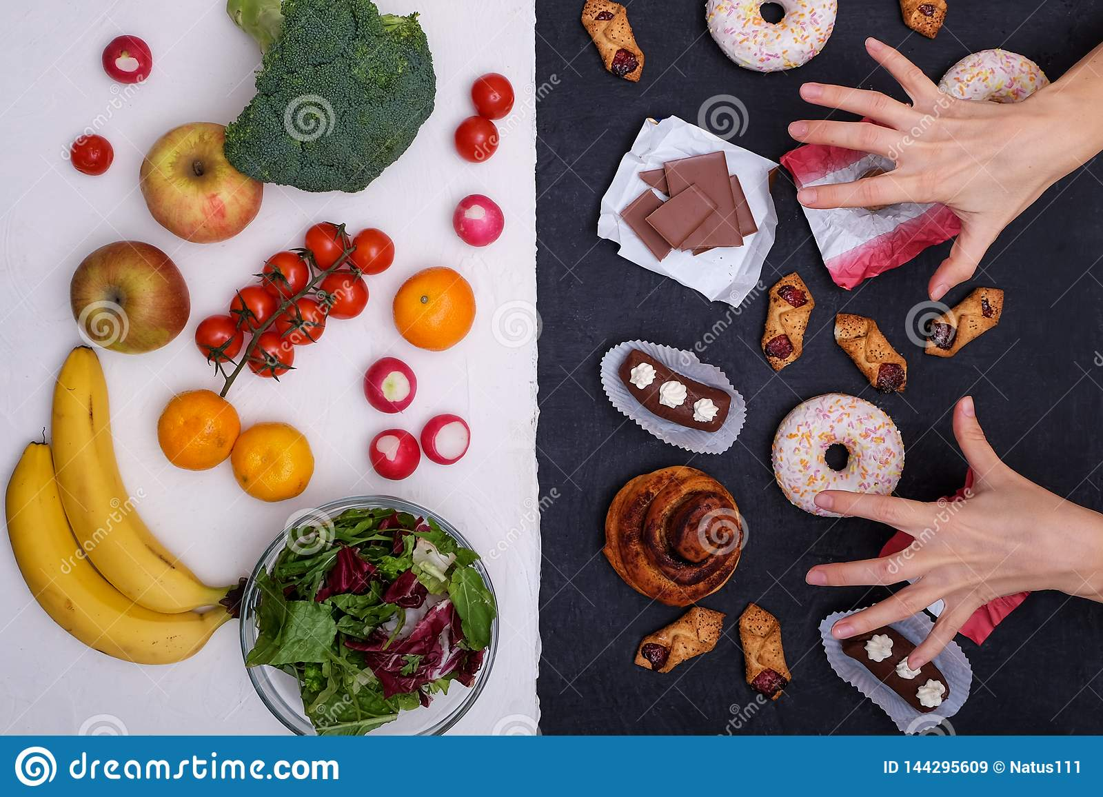 Concept Photo Of Healthy And Unhealthy Food  Fruits And Vegetables