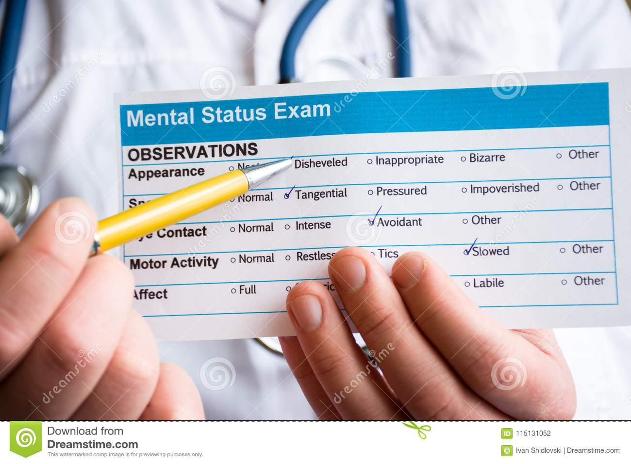 Concept Photo Psychiatric Examination, Assessment Or