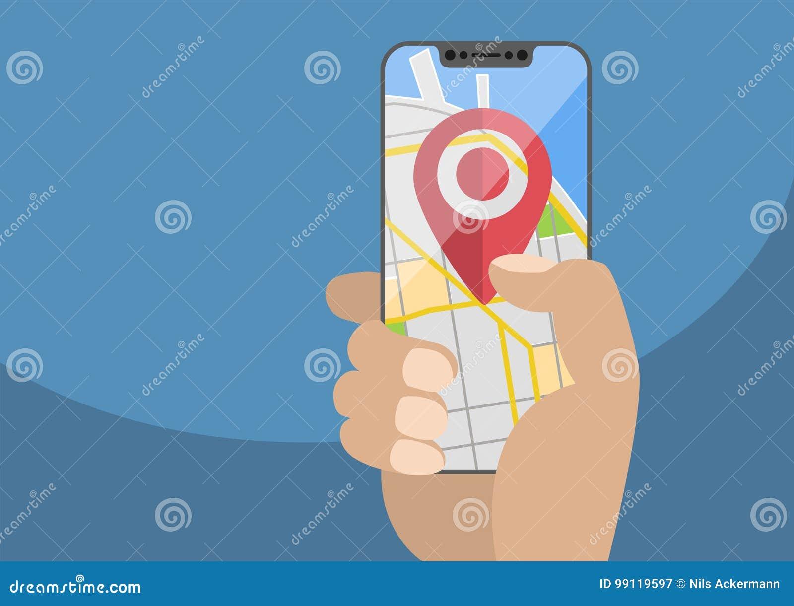 Concept plaats/de GPS gebaseerde diensten op mobiele apparaten
