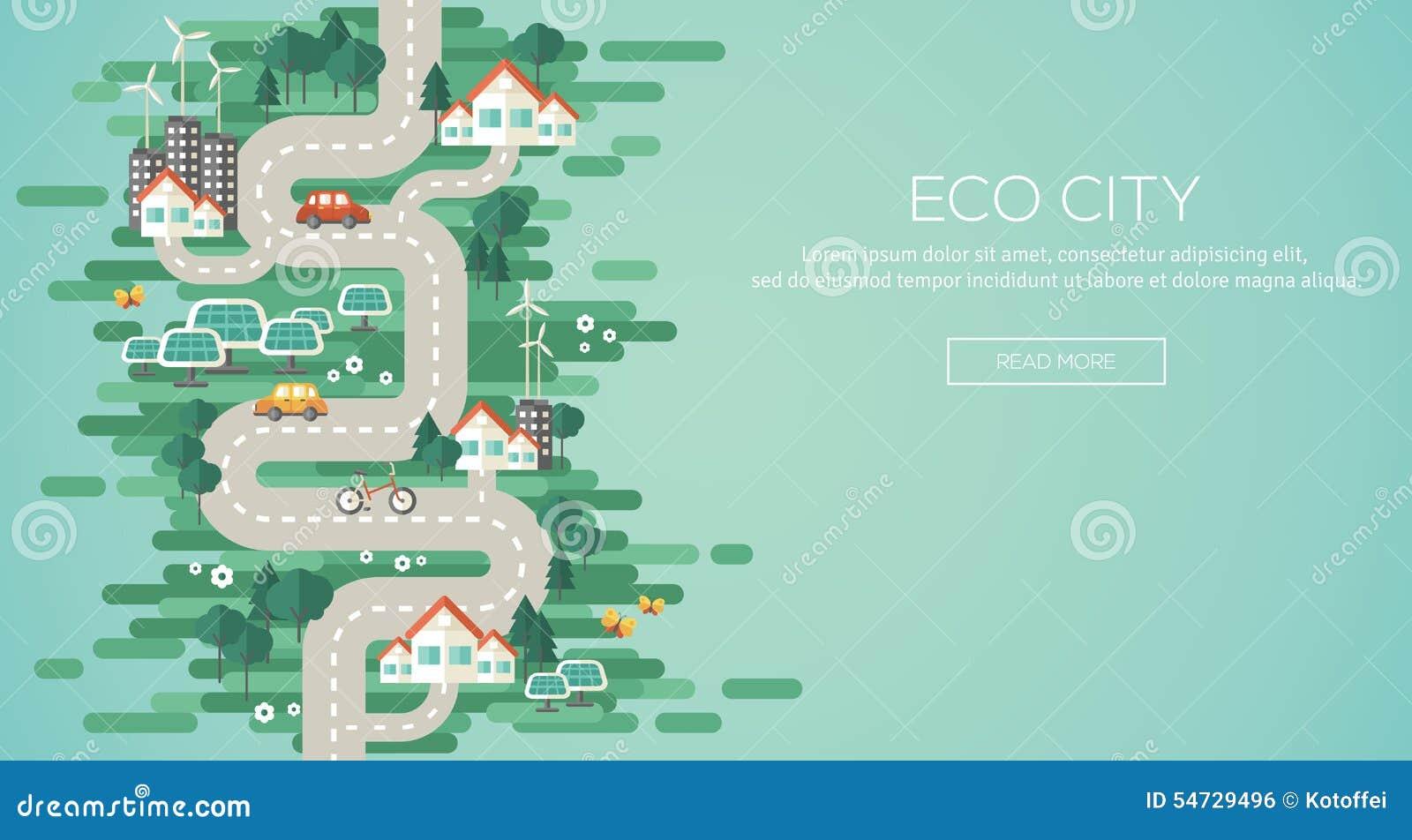 Concept plat d illustration de vecteur de conception de l écologie