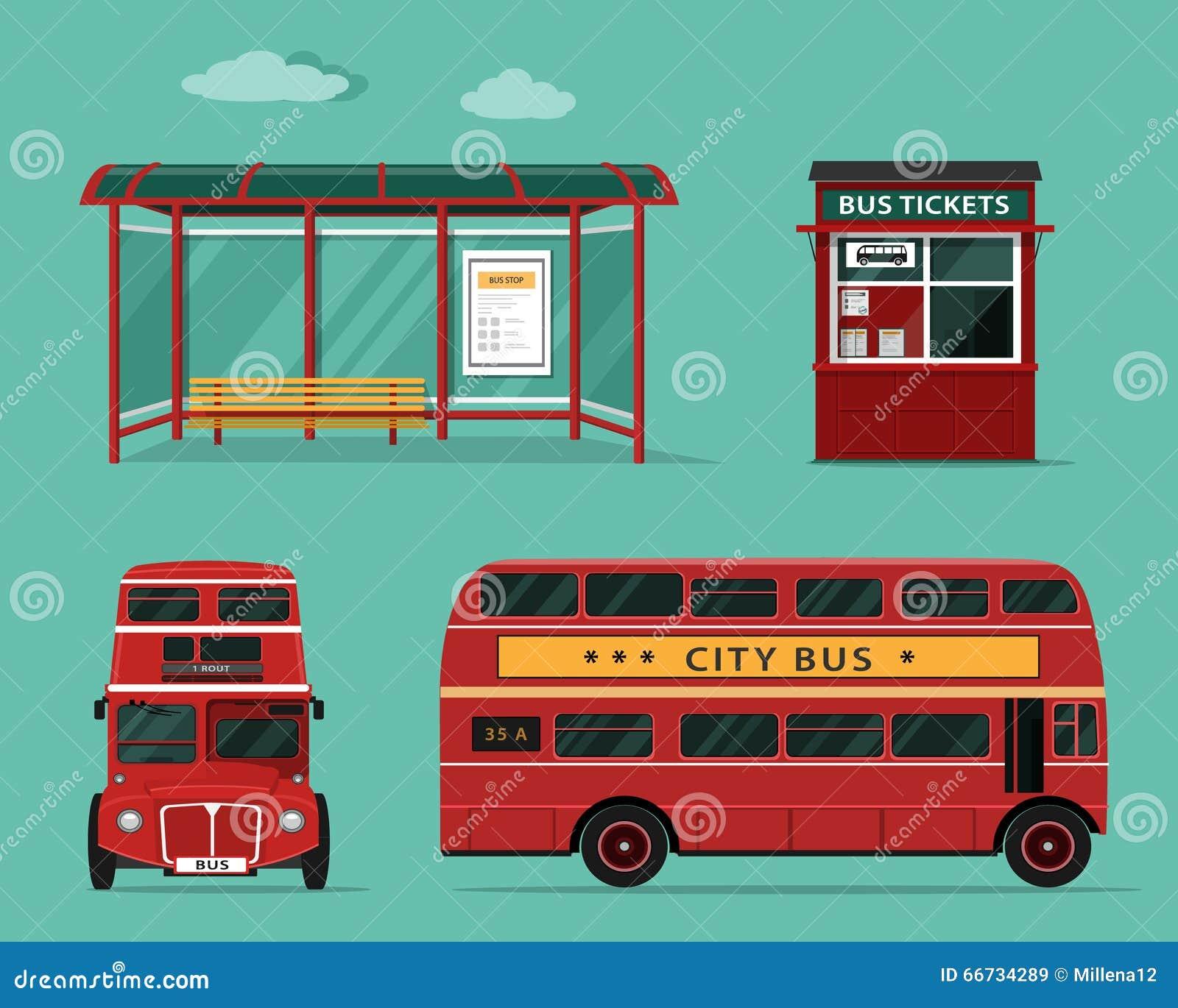 Concept plat de style de transport en commun Ensemble d autobus de ville avec la vue de côté avant et, arrêt d autobus, billetter