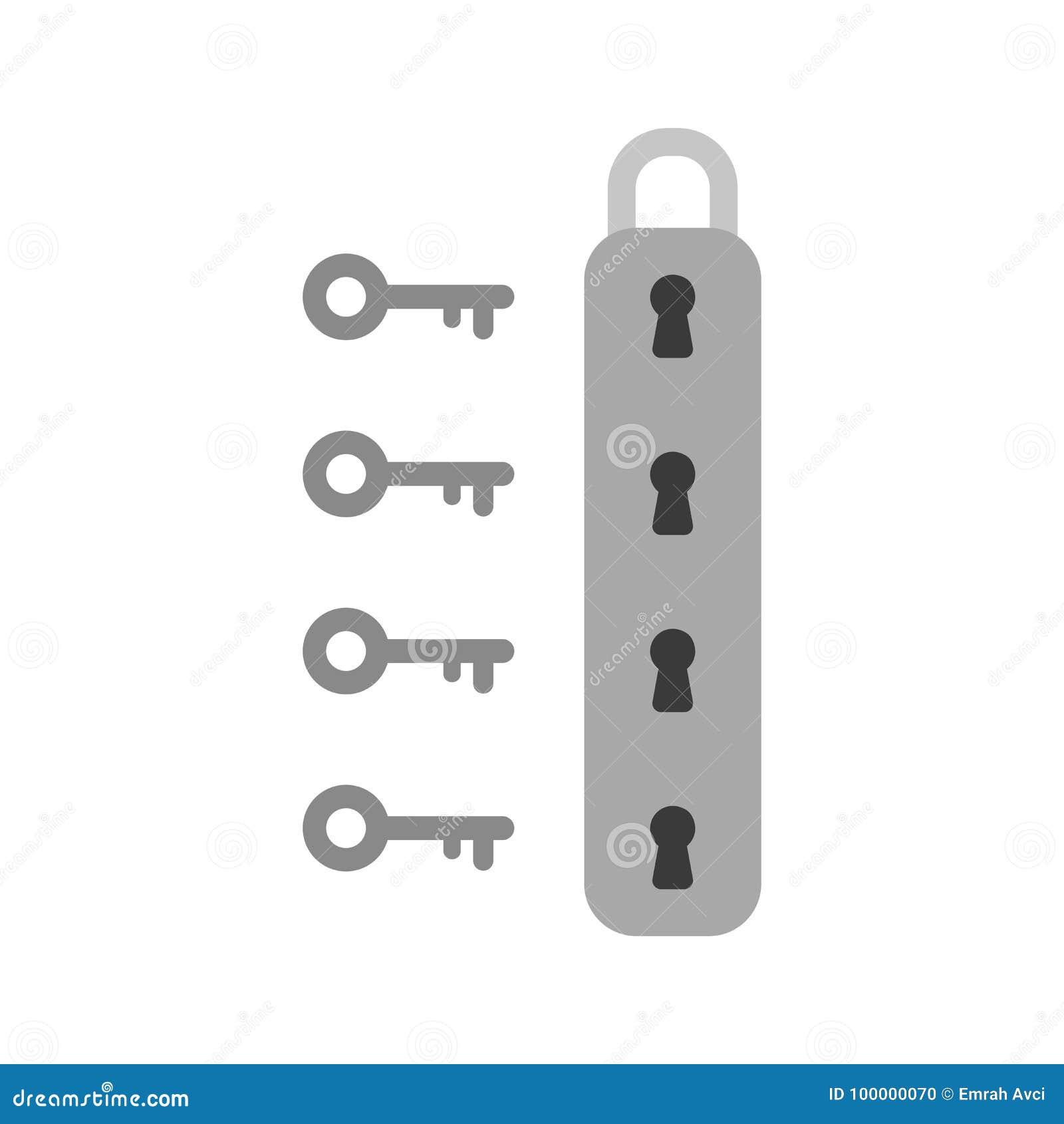 Concept plat de vecteur de style de conception d icône de cadenas avec le keyho quatre