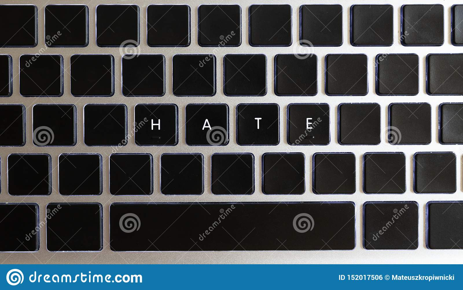 Concept of problems of today internet. Hate caption isolated on notebook keyboard with blank keys