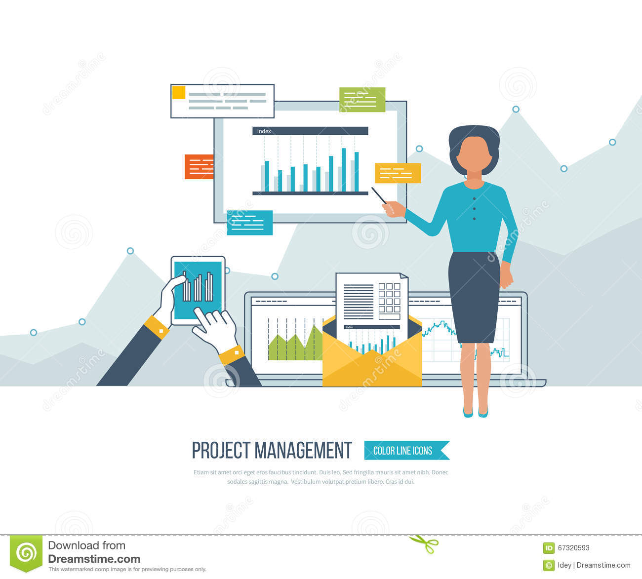 Financial Report And Project Management Concept Vector – Project Management Report