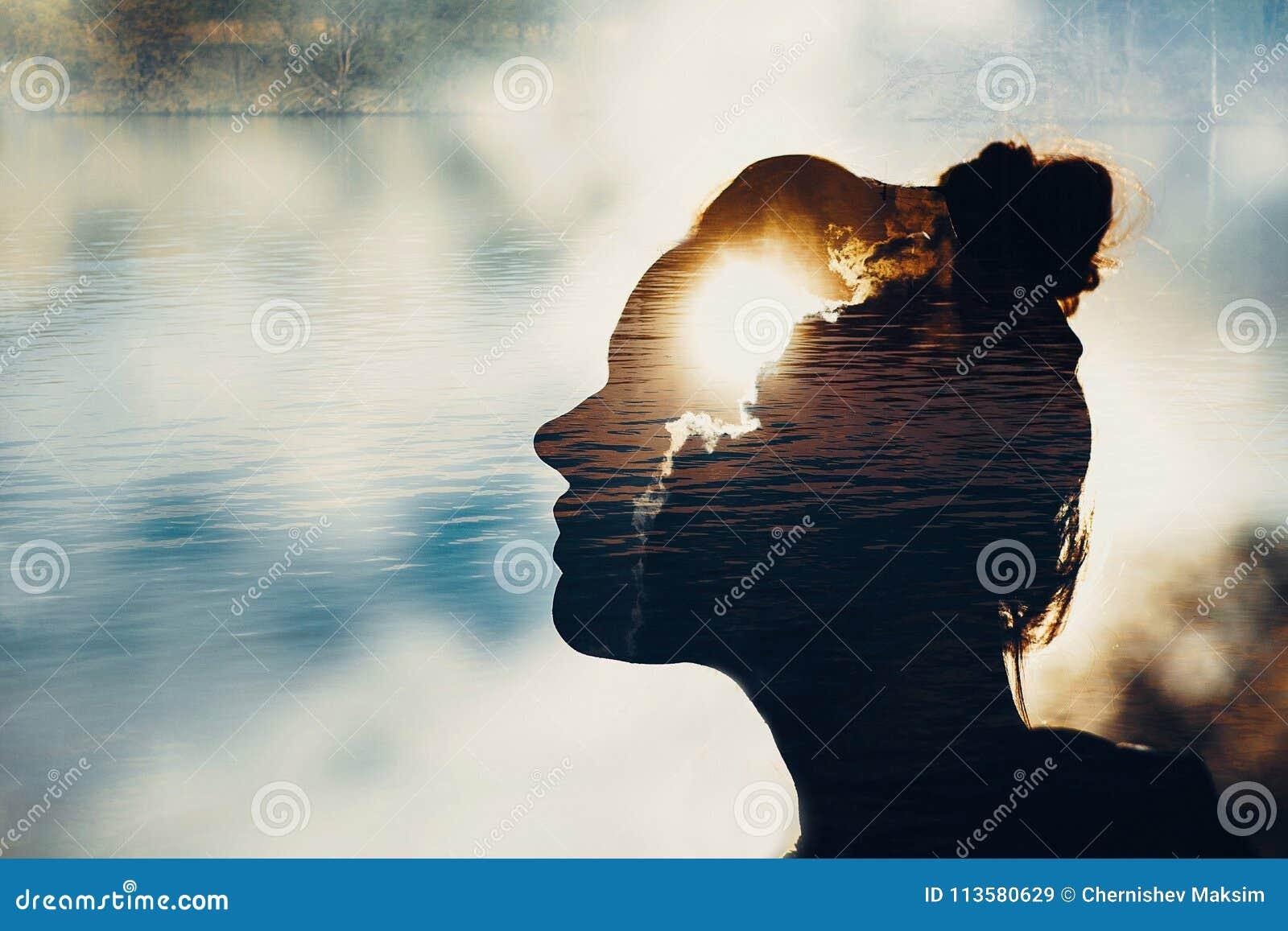 Concept psychologie en filosofiesymbool en macht van mening