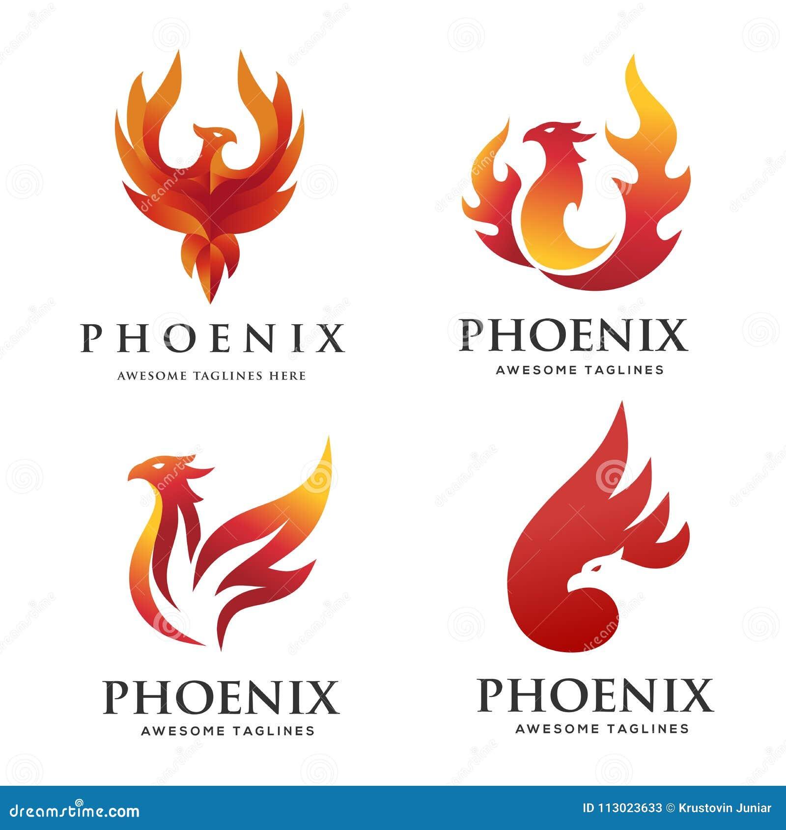 Concept réglé de logo de luxe de Phoenix