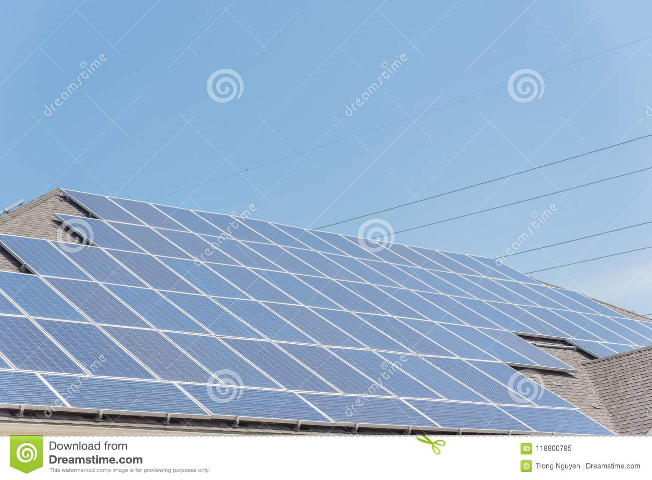 Solar Panel Installation On Asphalt Shingles Rooftop Stock Image Wiring Close Up System And Electrical Wires Rail Less Racking Battery Storage At Grapevine Texas Usa Blue Sky
