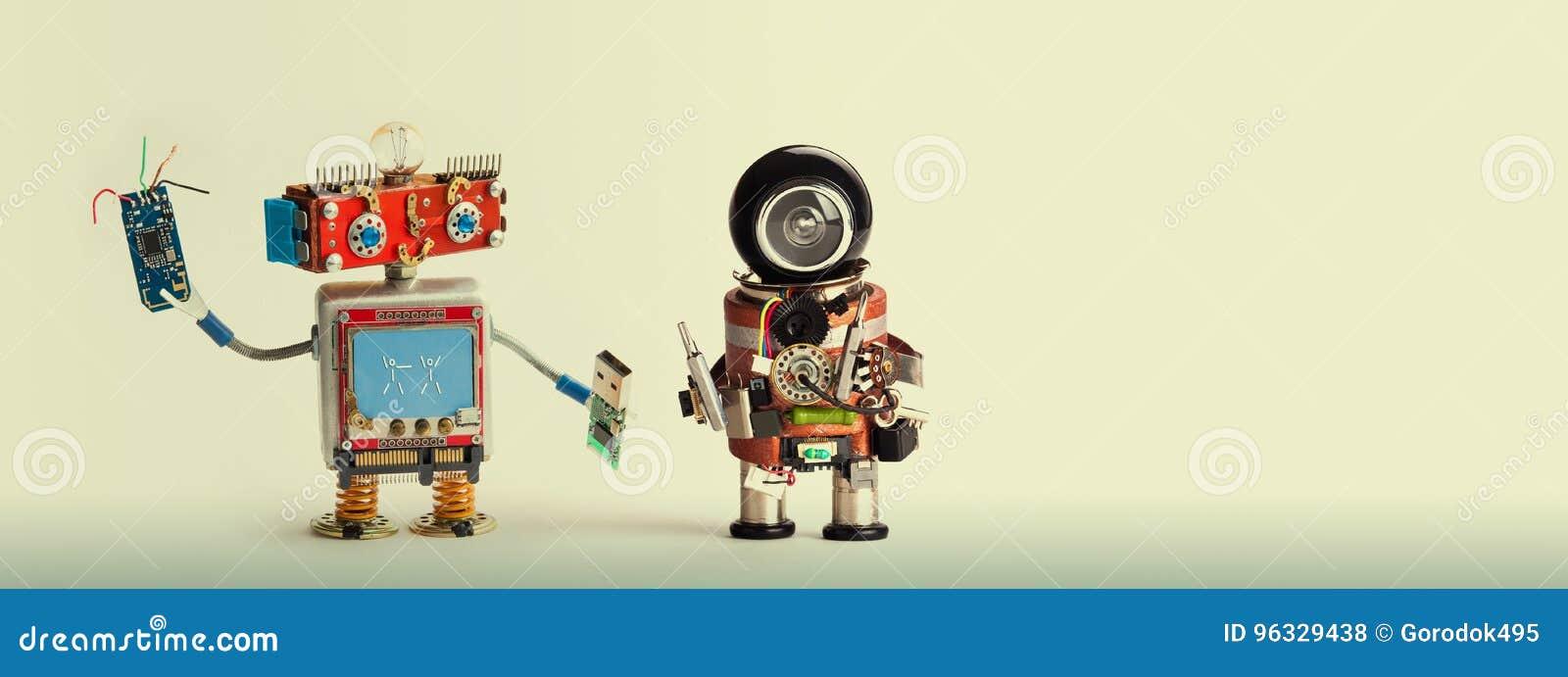 Concept robotique de difficulté de réparation d entretien Robots de bricoleur, tête rouge souriante, bâton d instantané d usb de