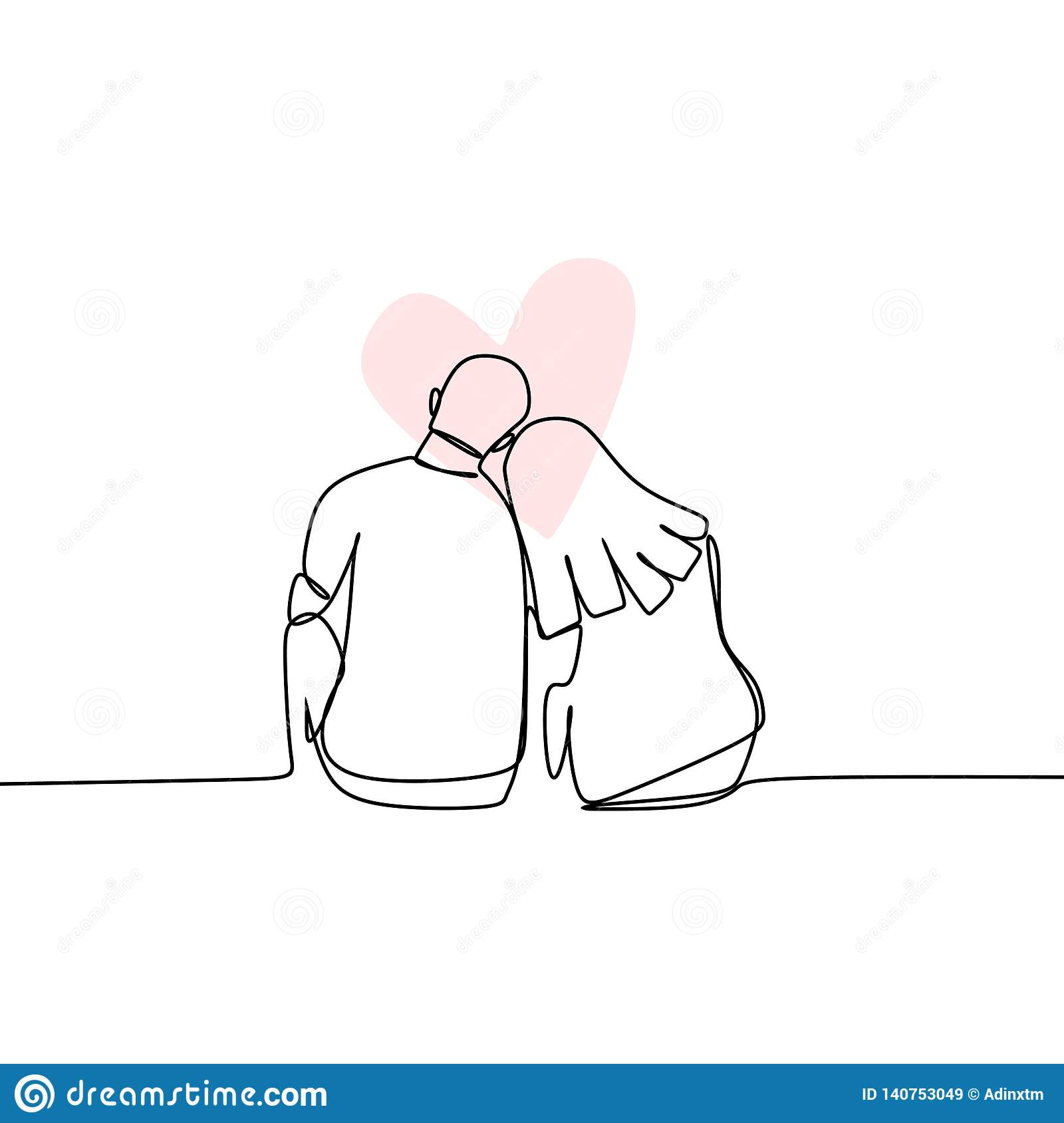 Concept Of Romantic Couple In Love Continuous Line Drawing Vector Illustration Stock Vector Illustration Of Hand Couple 140753049