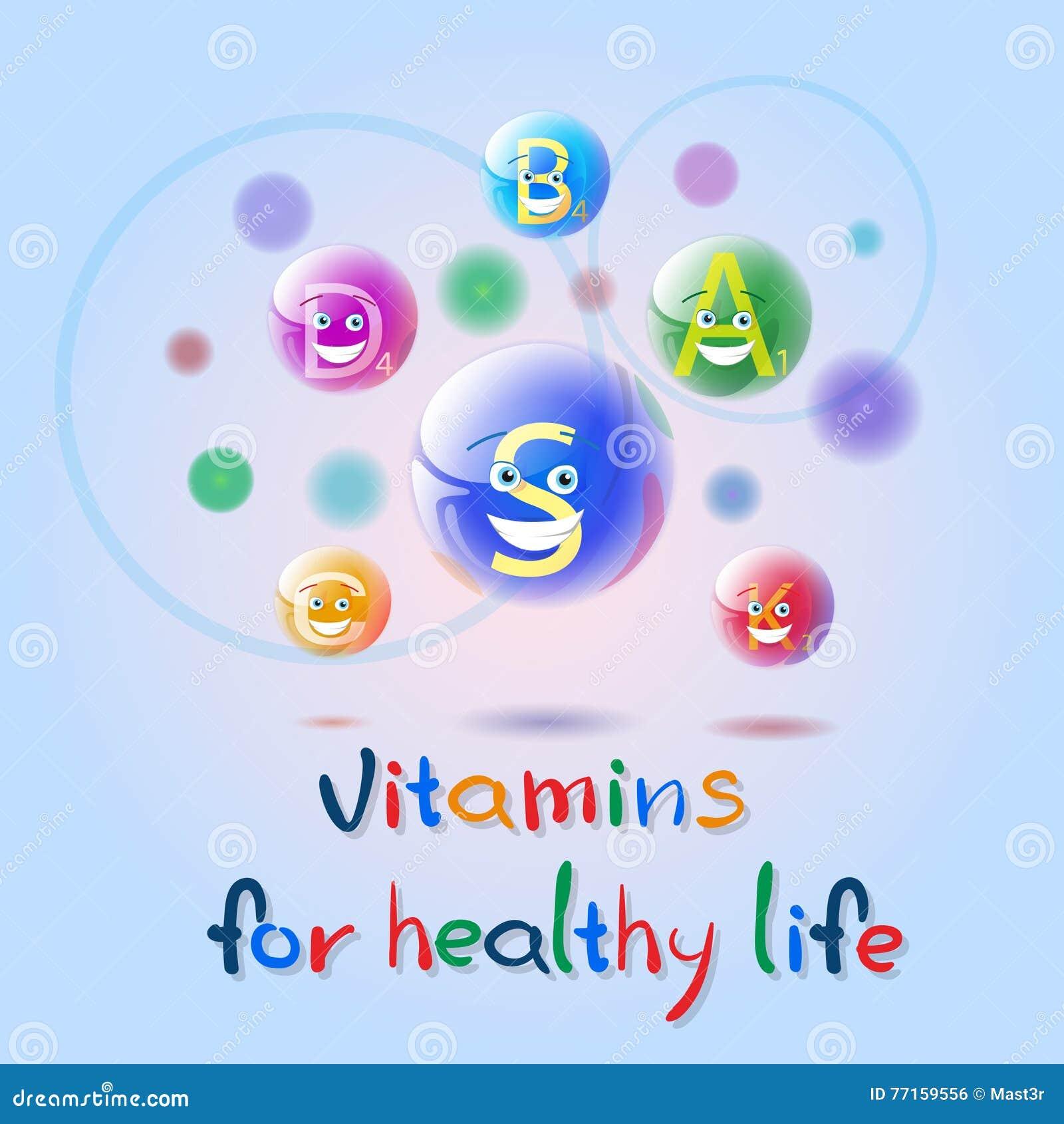 Concept sain d élément de chimie de nutrition de la vie de bannière colorée nutritive de minerais de vitamines