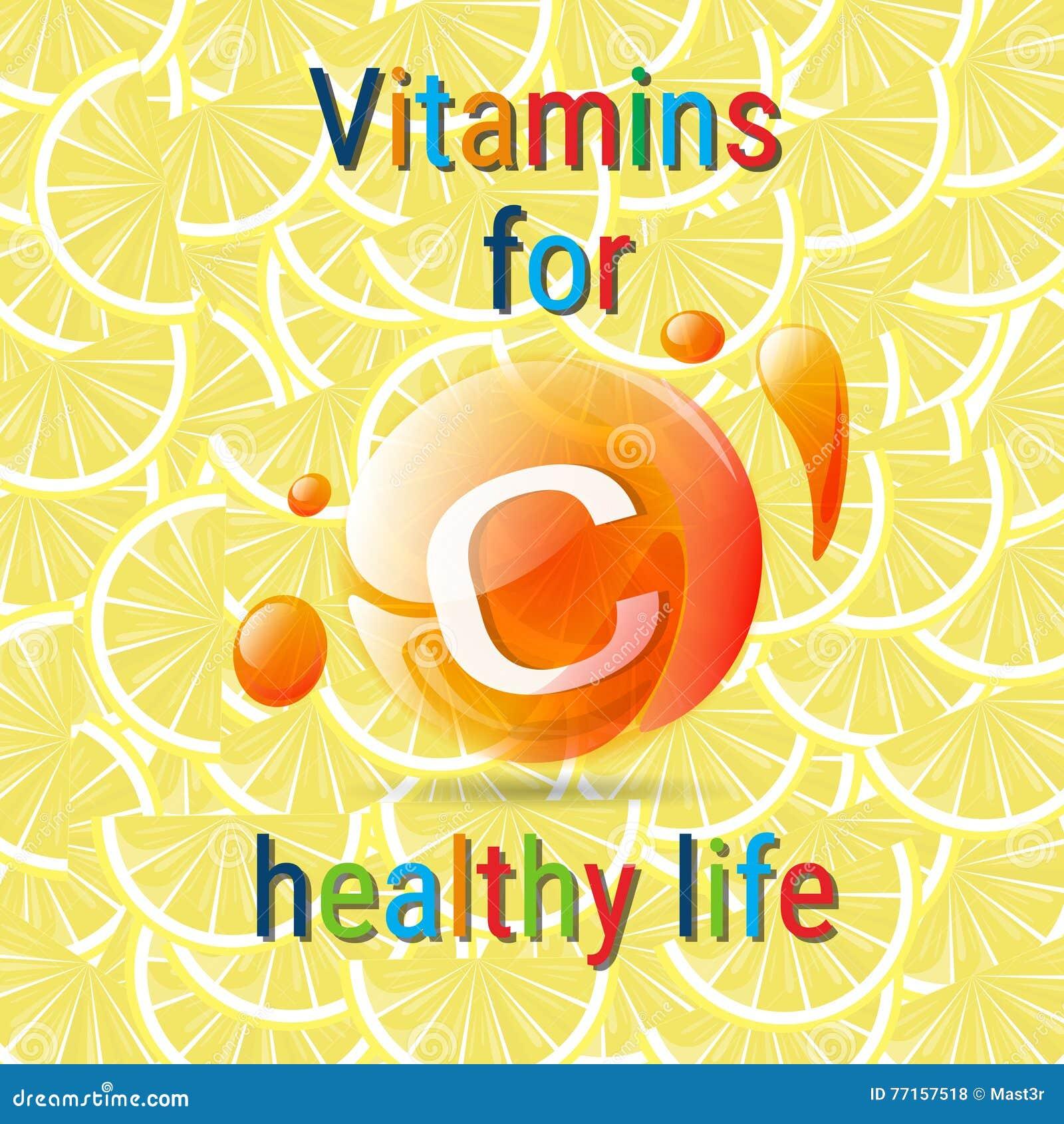 Concept sain de la vie des vitamines C