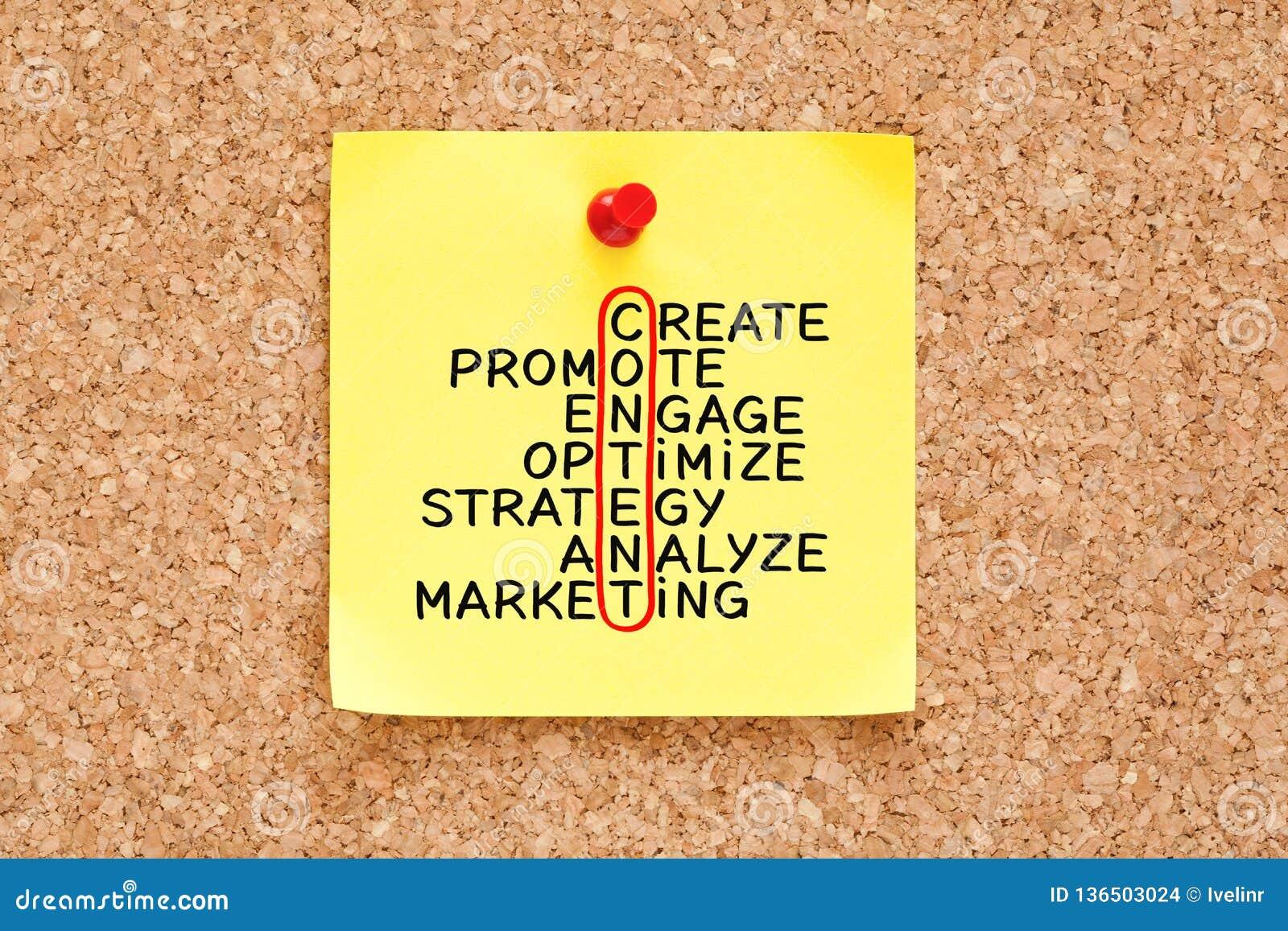 Concept satisfait de mots croisé de stratégie marketing sur la note collante