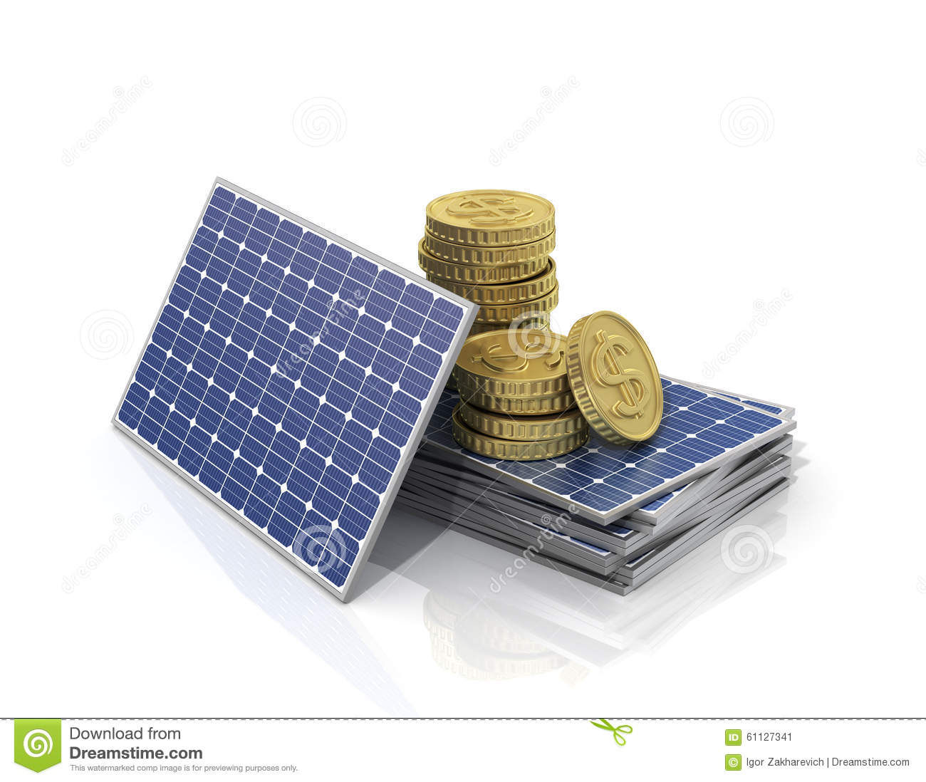 Solar Panel Yearly Savings: Concept Of Saving Money If Use Solar Panel. Stock Image
