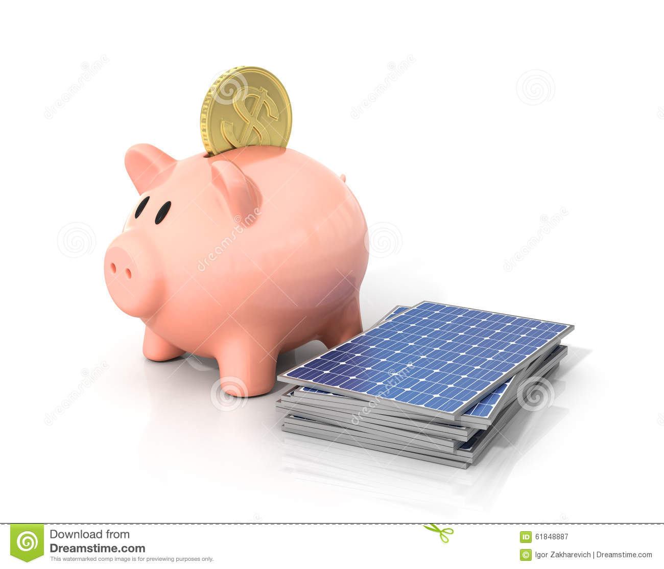 Solar Panel Yearly Savings: Concept Of Saving Money If Using Solar Energy. Stock Image