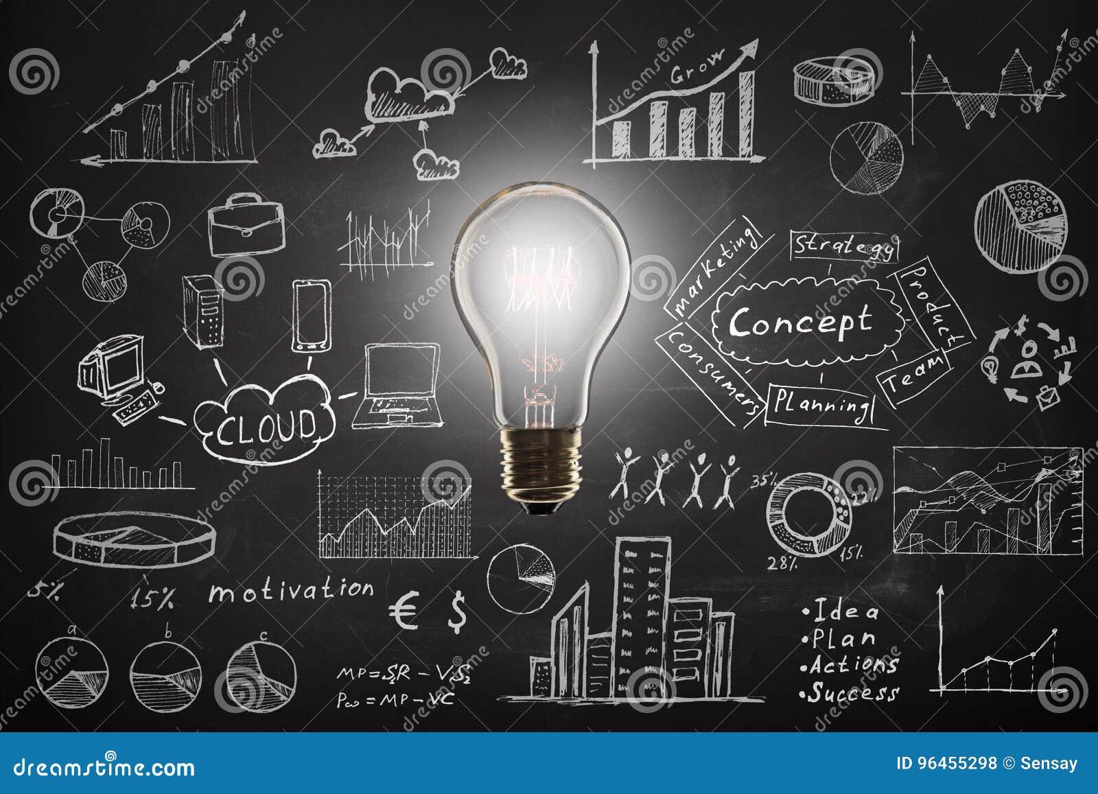 Concept - schets met regelingen en grafieken op bord