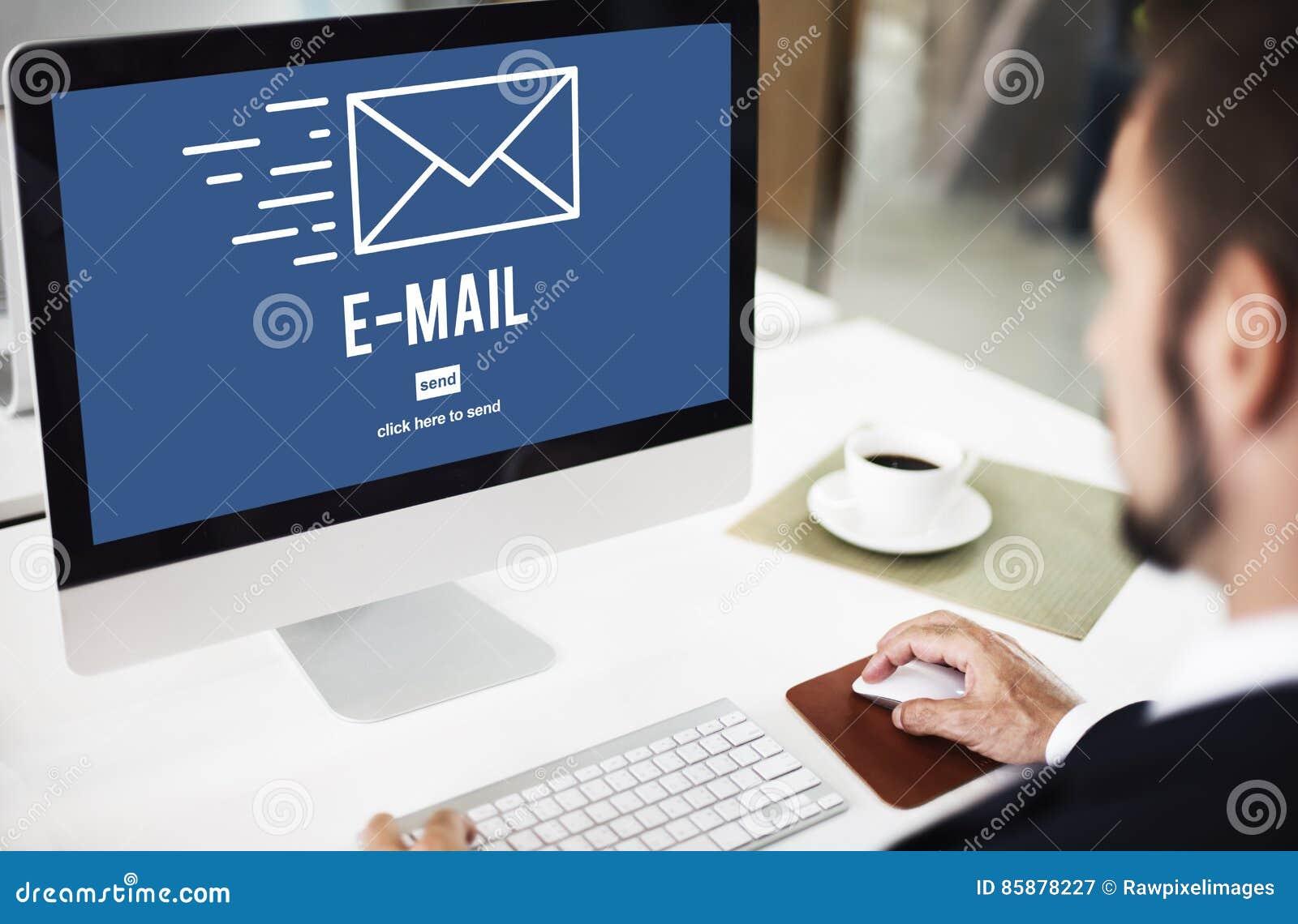 Concept se reliant de message de communication d Internet d email