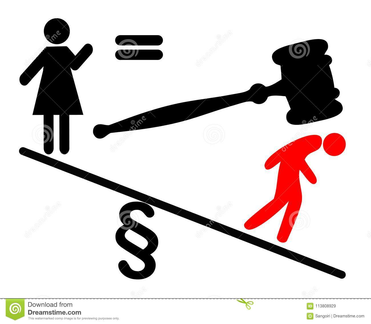 Women Fight For Legal Equality Stock Illustration Illustration Of